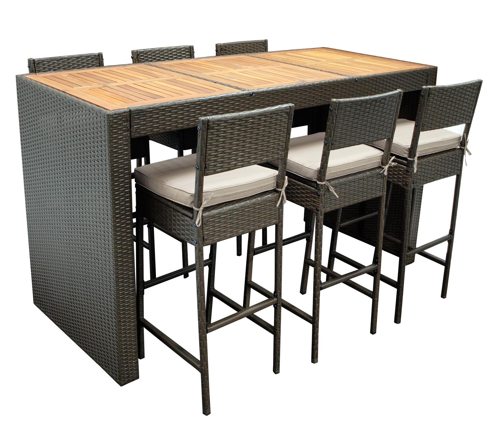 Barset CORTINA 13-teilig, 1x Tisch, 6x Stuhl mit Polster, Geflecht braun