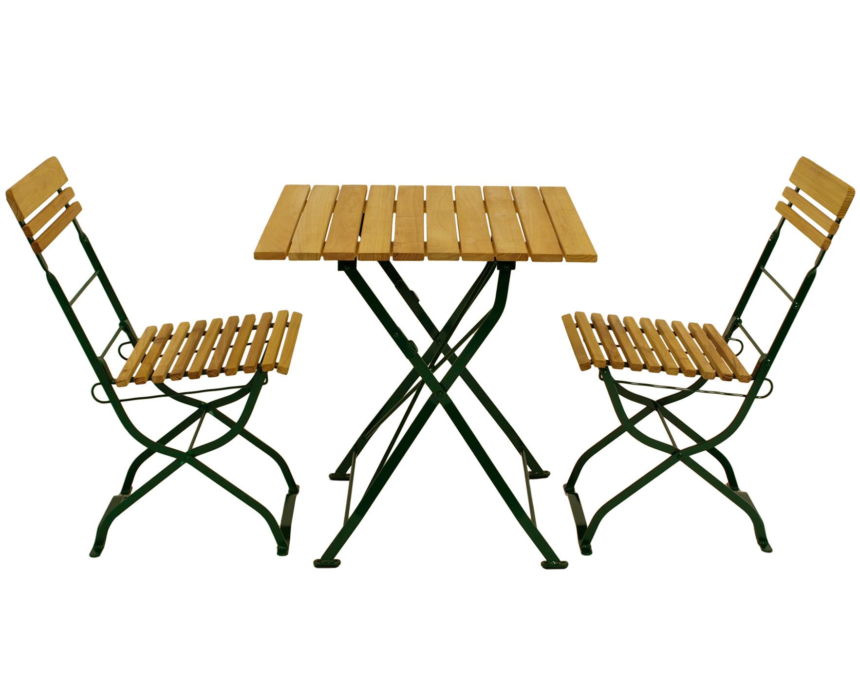 Biergarten - Garnitur MÜNCHEN 3-teilig, Flachstahl grün + Robinie