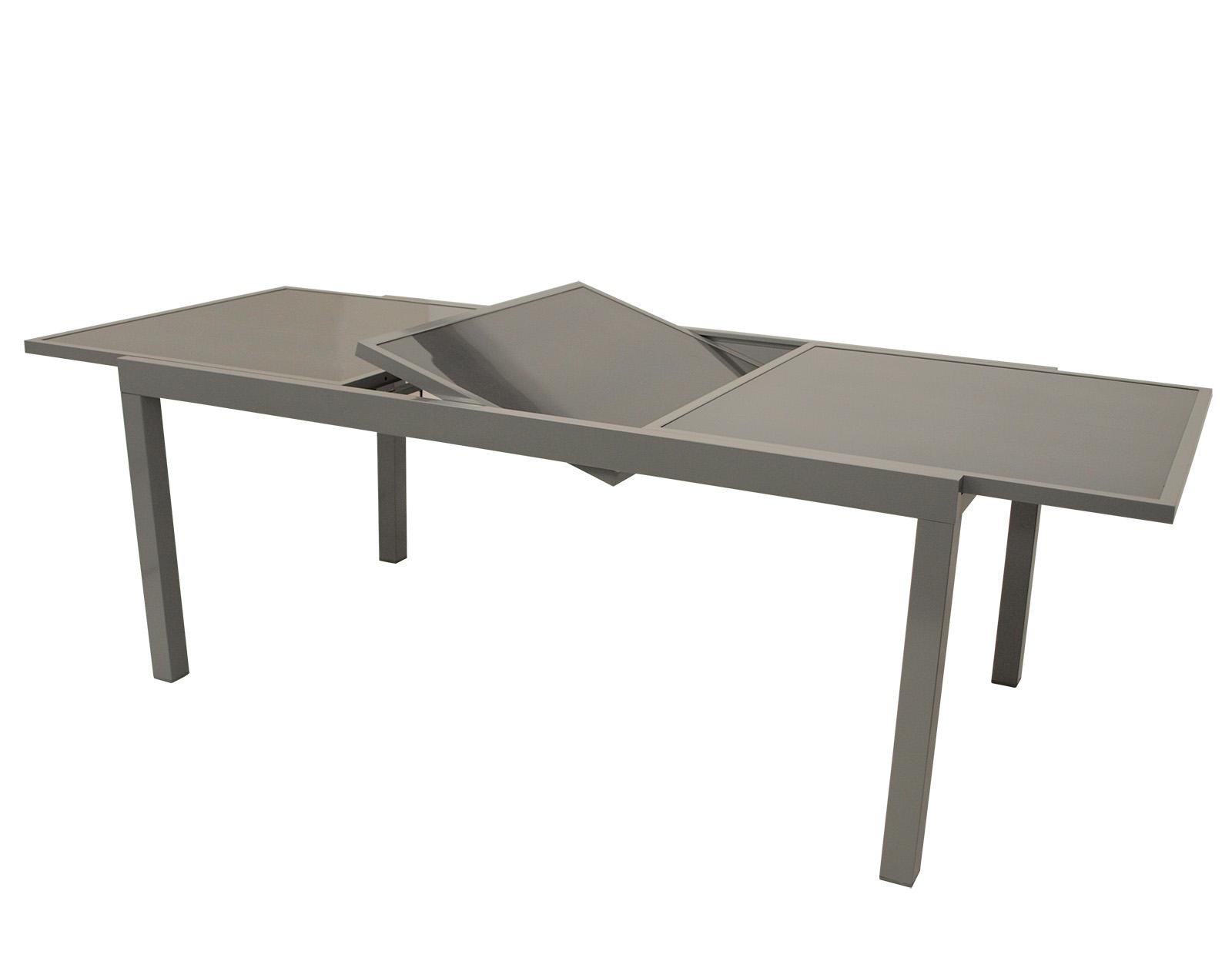 Ausziehtisch PISA 140/200x90cm, Aluminium + Glas grau