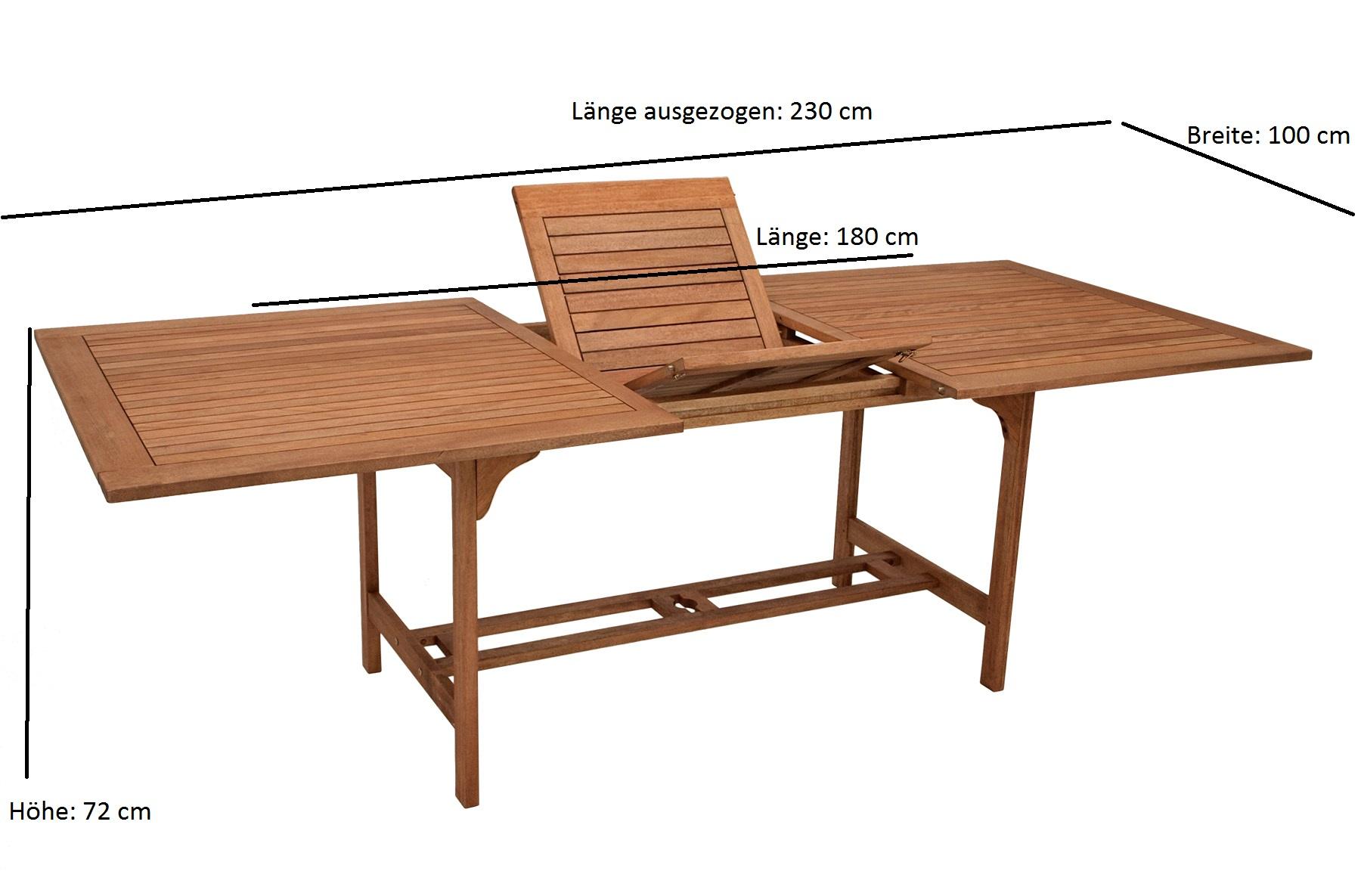 Ausziehtisch 180/230x100cm, Eukalyptus geölt, FSC®-zertifiziert