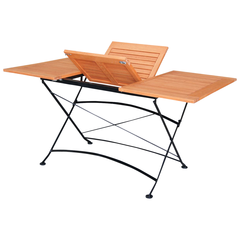 Ausziehtisch SCHLOSSGARTEN 100/150x90cm, Stahl + Eukalyptus, FSC®-zertifiziert