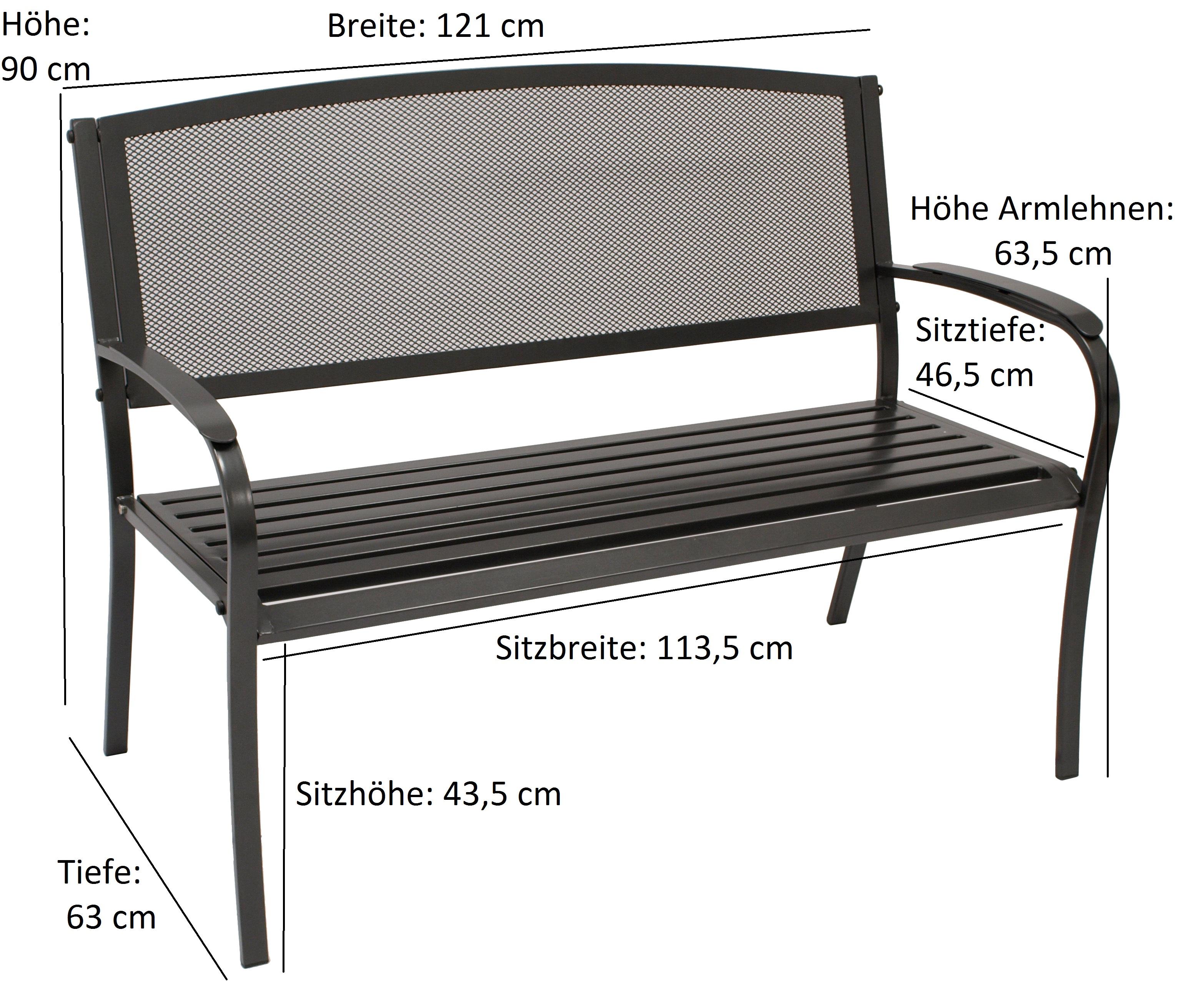 Bank COMO 2-sitzer, Streckmetall anthrazit