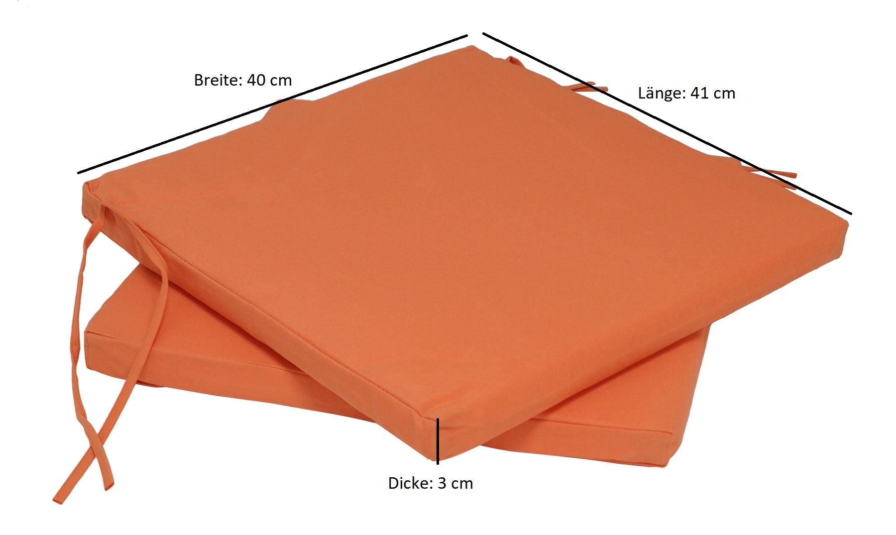 Sitzkissen 41x40cm für BAD TÖLZ, terracotta, 2 Stück