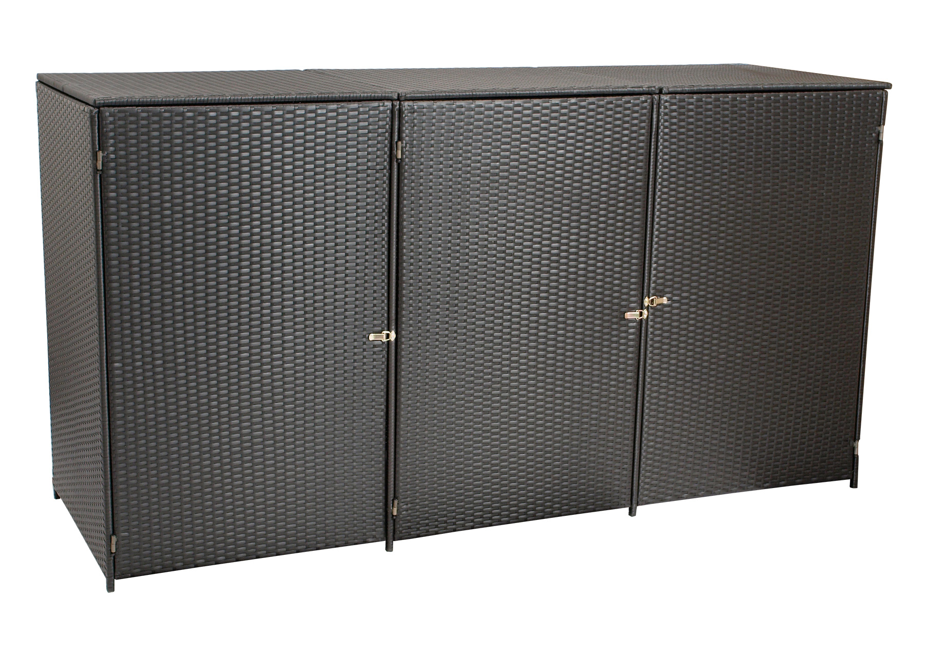 Mülltonnenbox 78x227x123cm für 3 Tonnen bis 240 Liter, Stahl + Polyrattan mocca