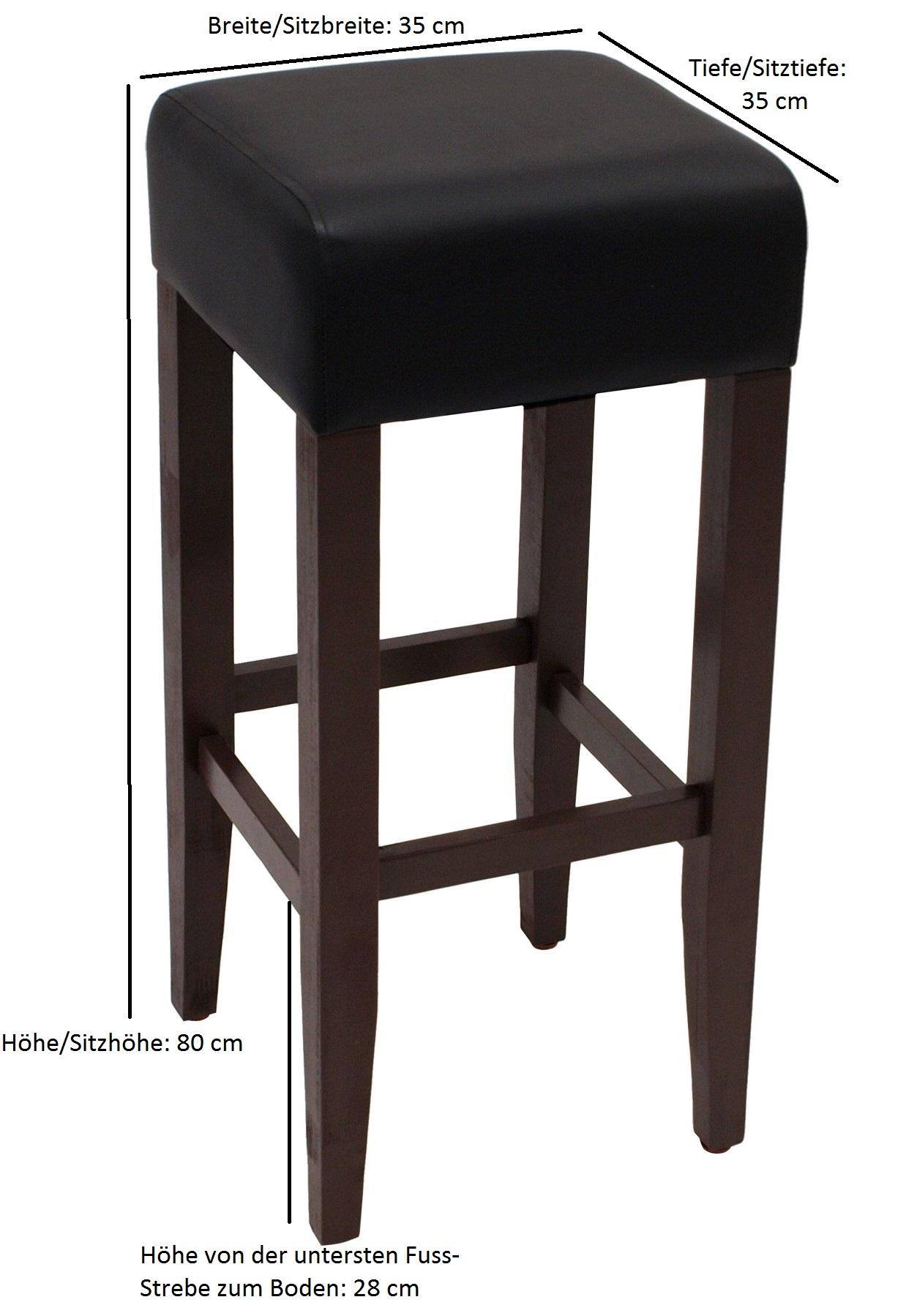 Barhocker BODEGA, Gestell Akazienholz braun, Sitz Kunstleder schwarz, 2 Stück, FSC®-zertifiziert