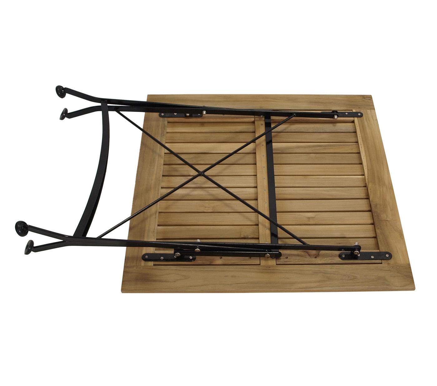Klapptisch JAKARTA 75x75cm, Flachstahl schwarz + Teakholz, FSC®-zertifiziert