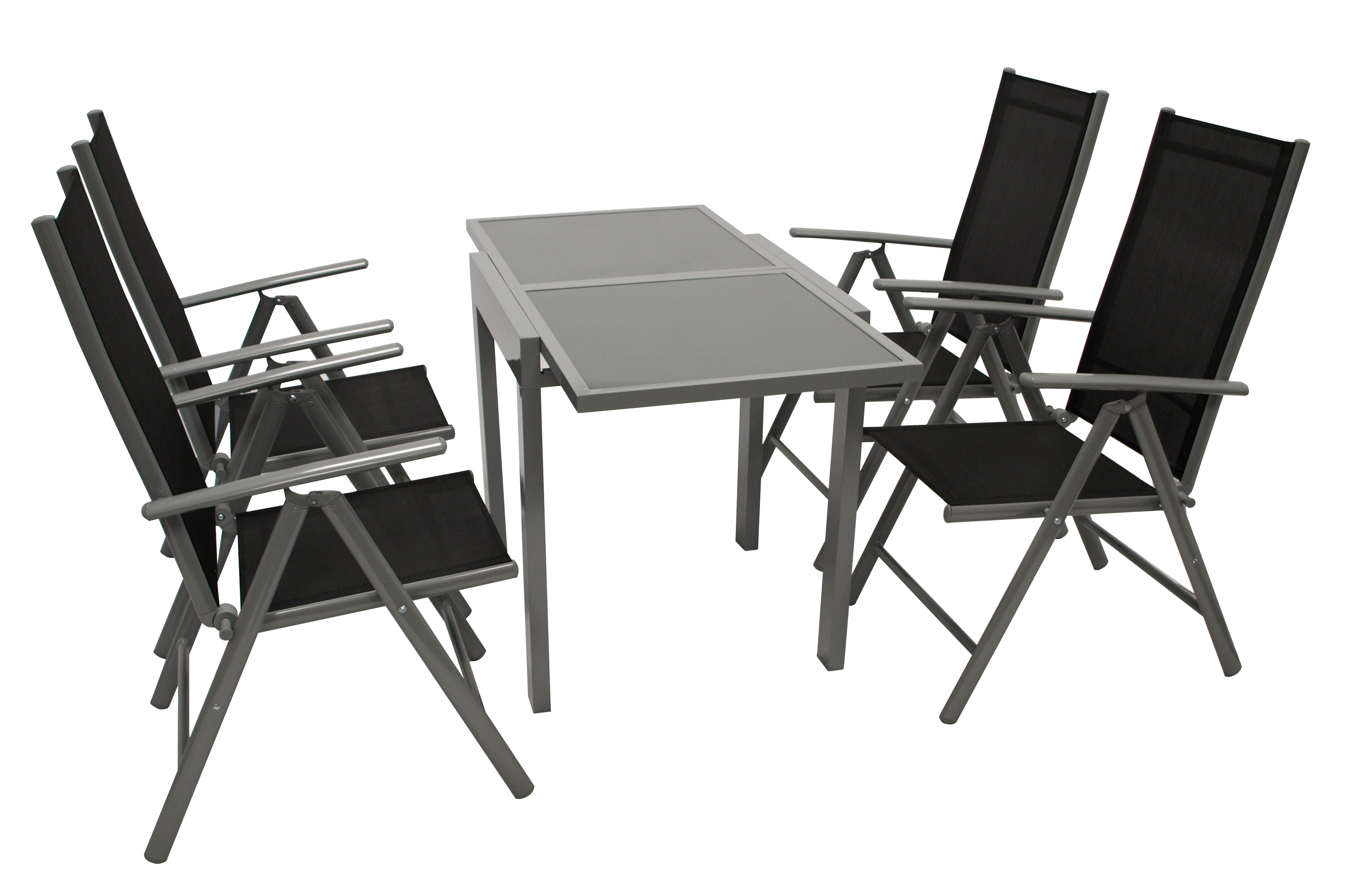 Garnitur AMALFI 5-teilig, Aluminium + Kunstgewebe schwarz