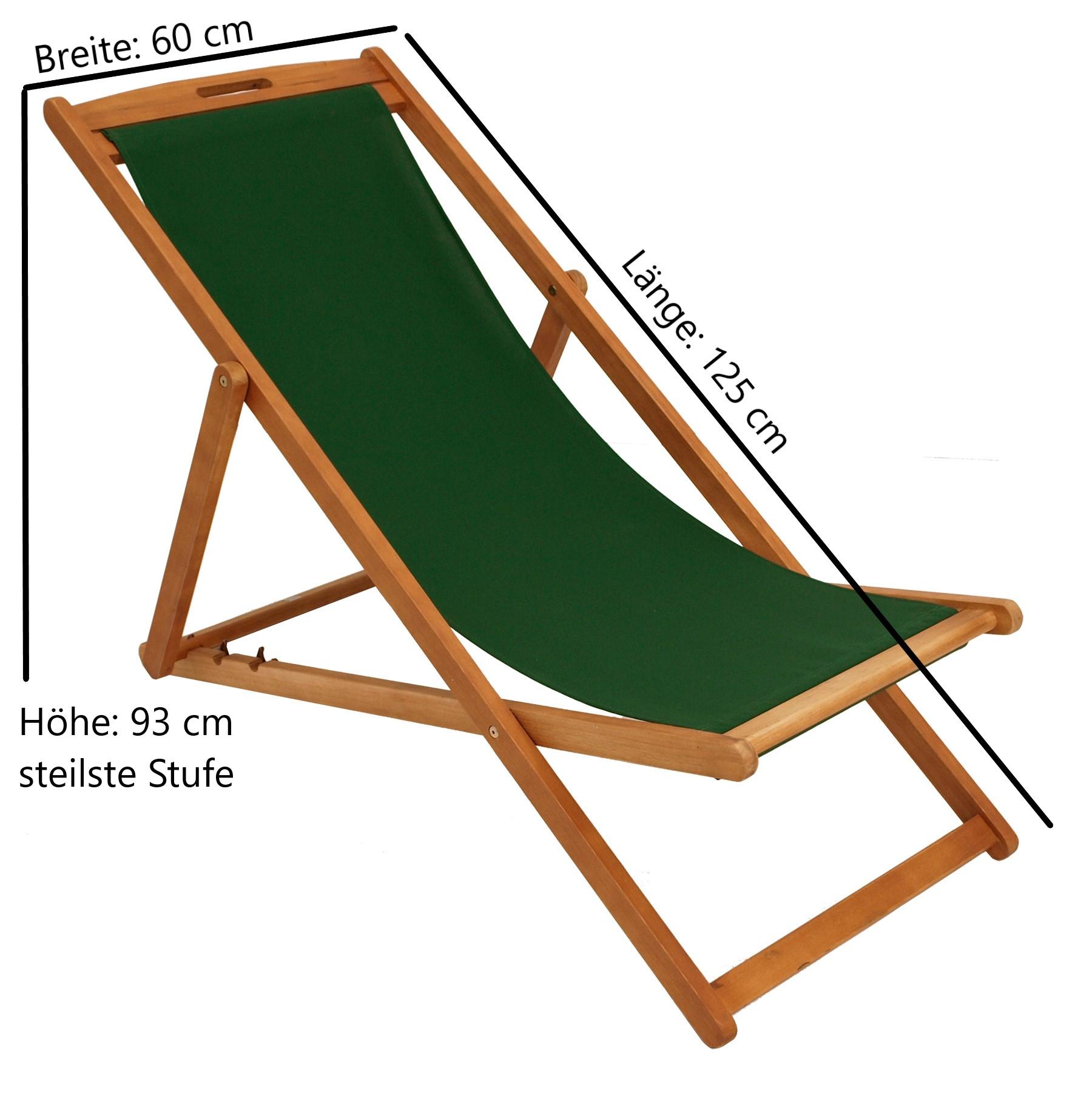 Liegestuhl PLAYA Eukalyptus + Textilbezug dunkelgrün, FSC®-zertifiziert