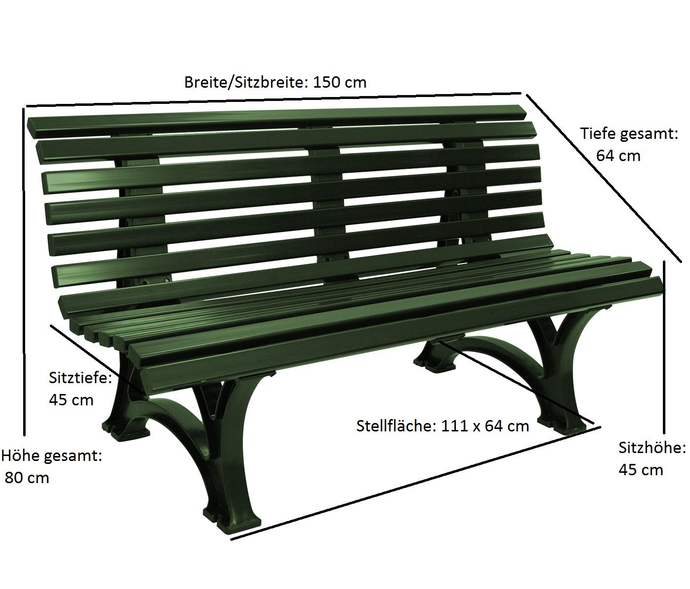 Bank HELGOLAND 3-sitzer, Kunststoff grün