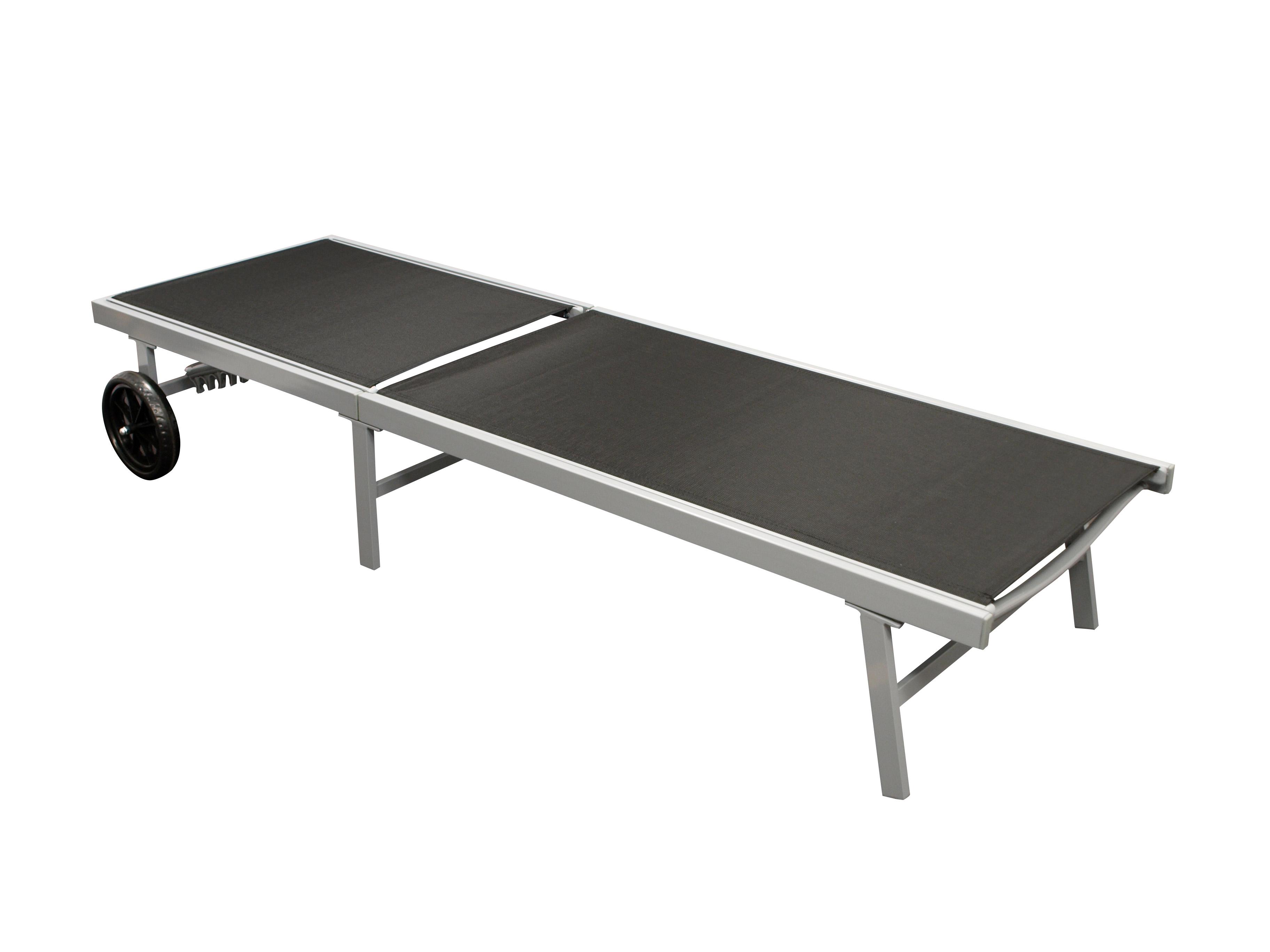 Rollenliege OSTIA, Aluminium silber + Textilgewebe schwarz, 200cm