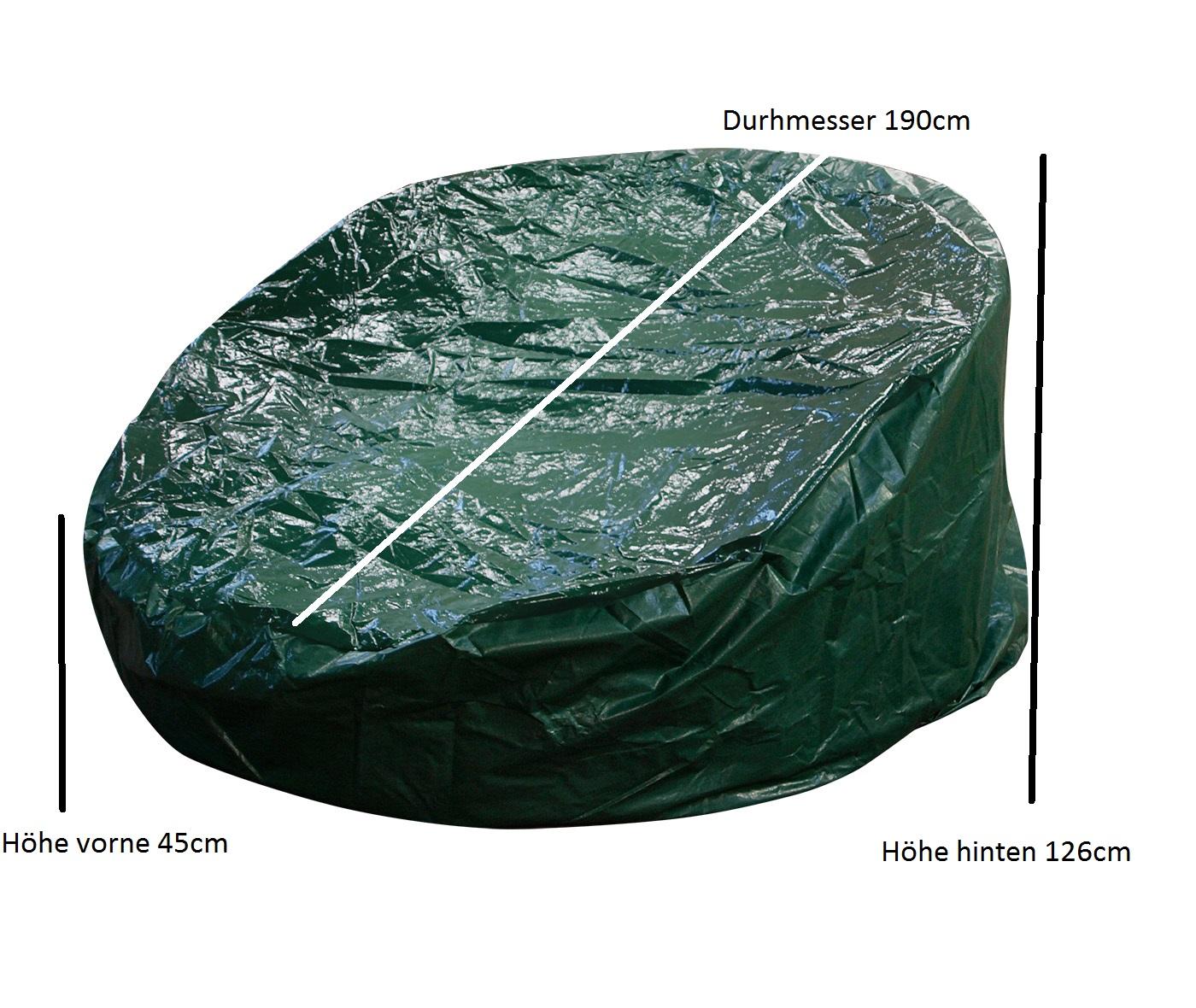 Abdeckhaube Relaxinsel 190x126/45cm, PE grün