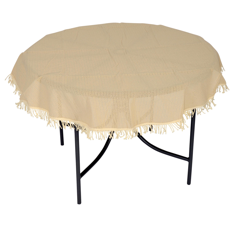 Tischdecke aus Kunststoff 160cm rund, beige, wetterfest