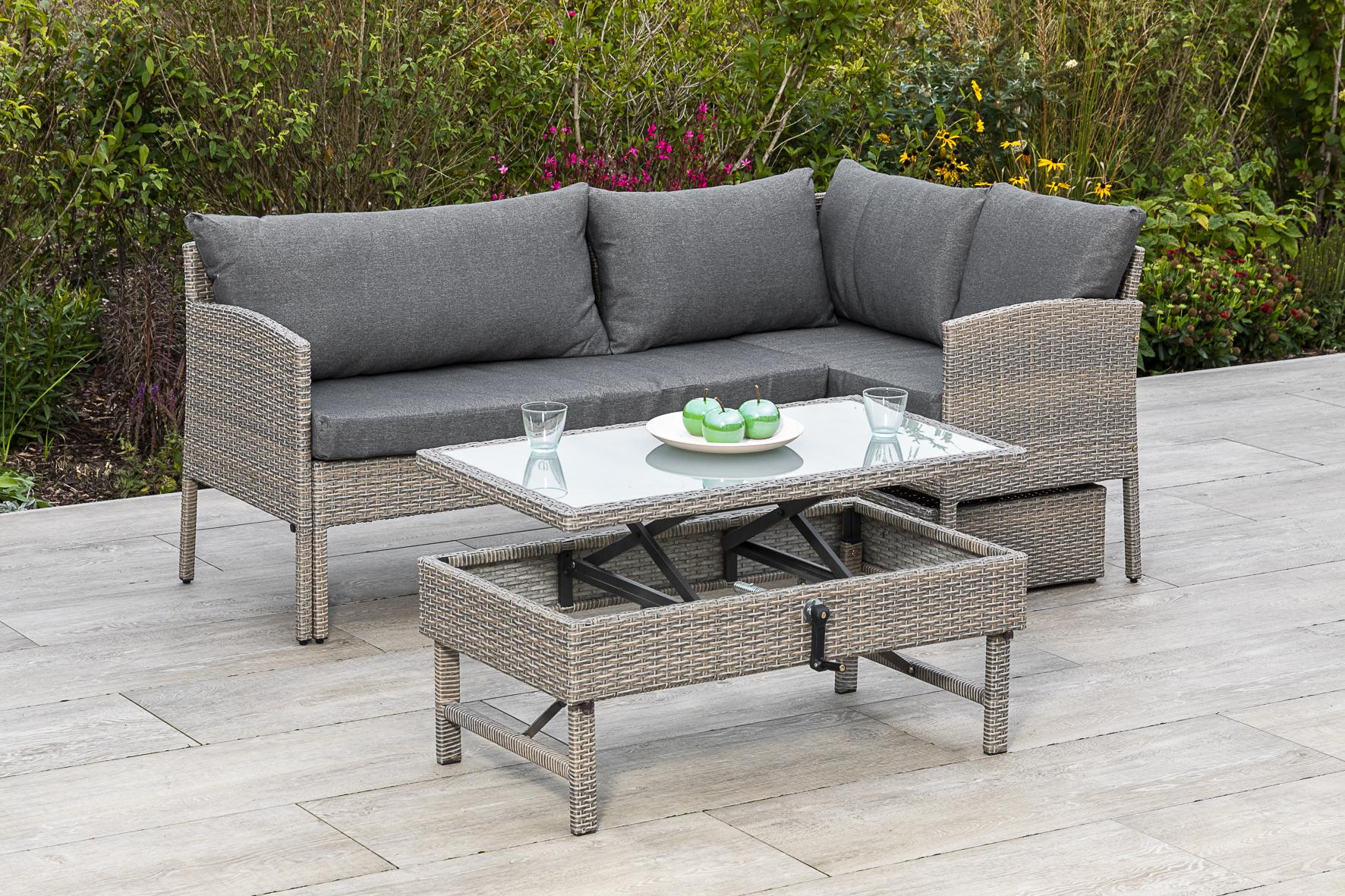 Lounge Set VALLETTA, Stahl + Polyrattan graubeige, mit Liegefunktion, Polster grau