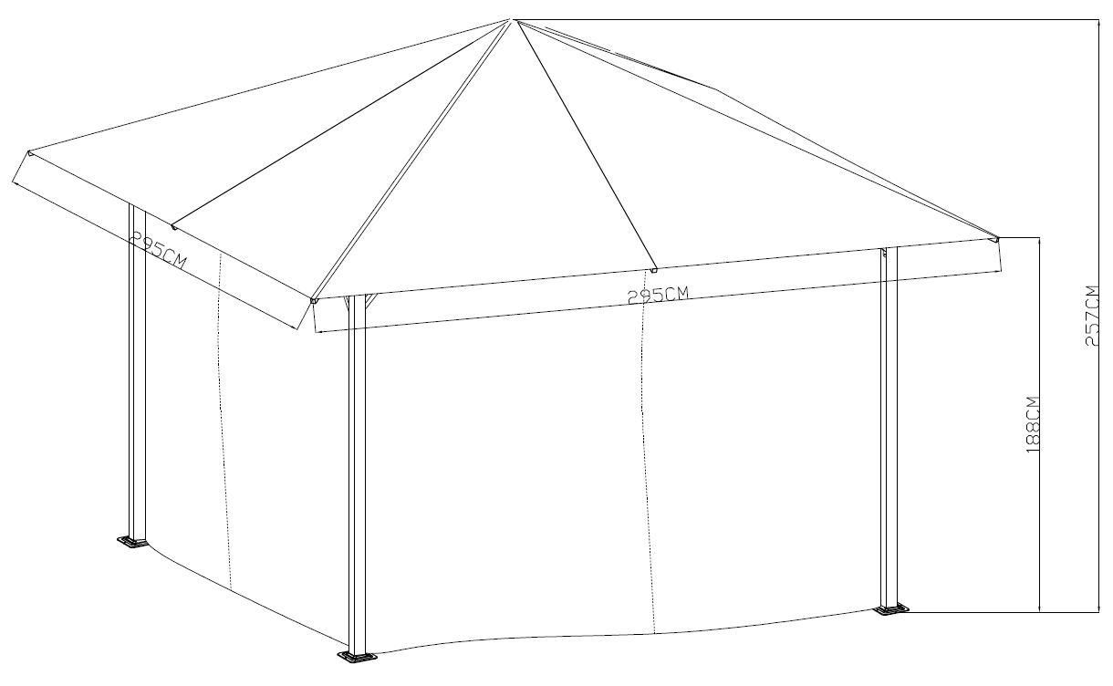 Pavillon LOCARNO 3x3 Meter, Stahl grau-antik, Plane grau wasserdicht