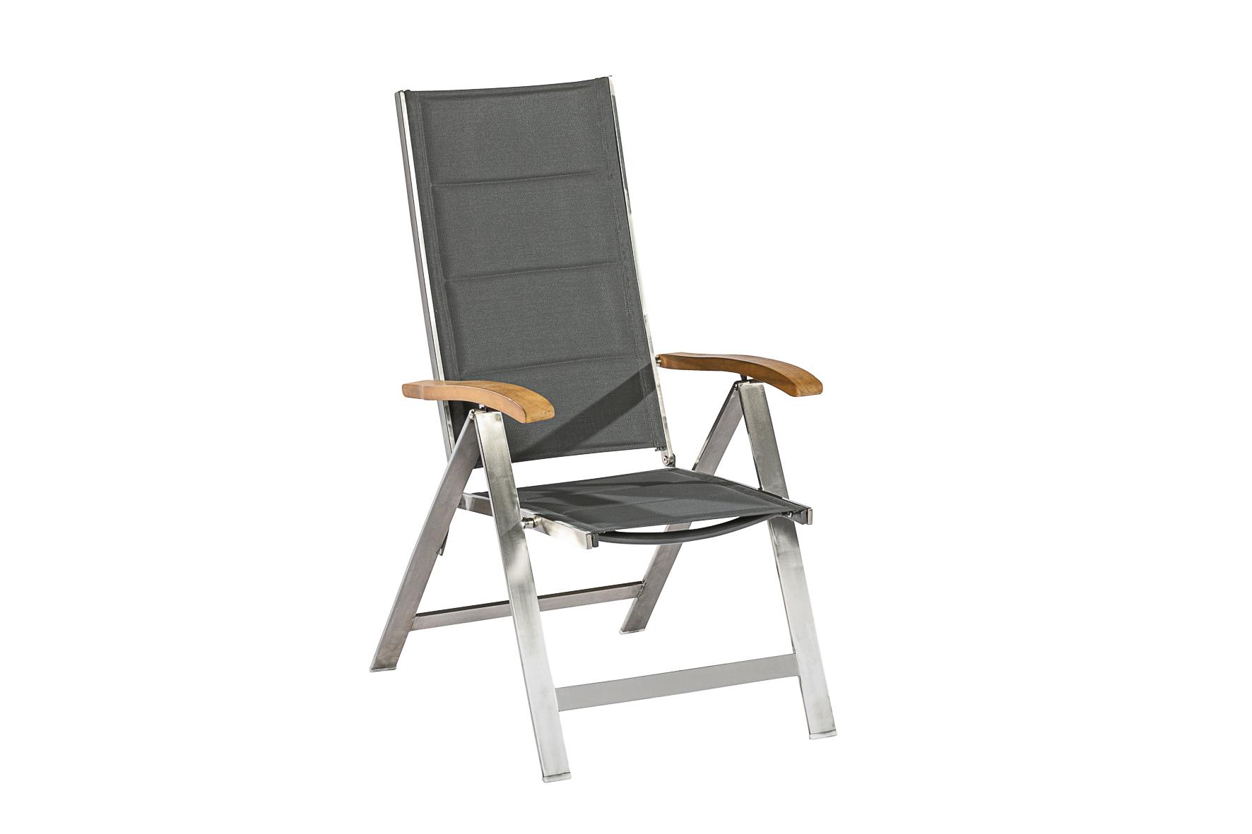 Klappsessel FERRARA Hochlehner, Edelstahl glänzend + Textilgewebe grau + Akazie