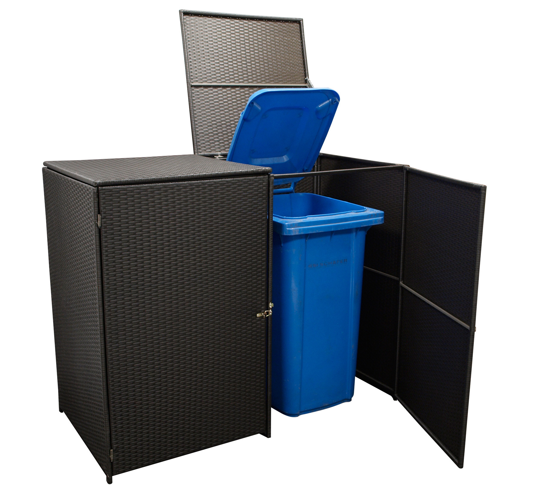Mülltonnenbox 78x150x123cm für 2 Tonnen bis 240 Liter, Stahl + Polyrattan mocca