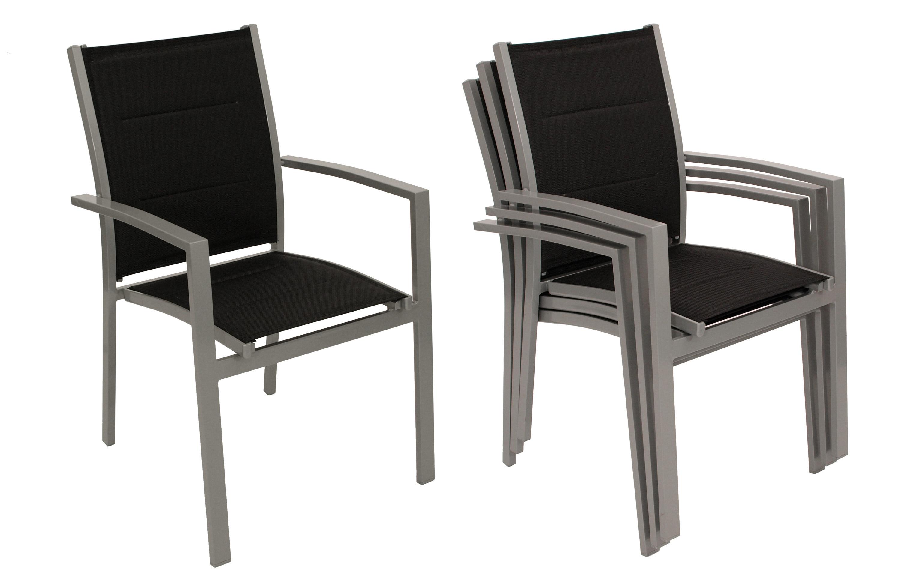 Garnitur MARINA 9-teilig, Aluminium + Kunstgewebe schwarz