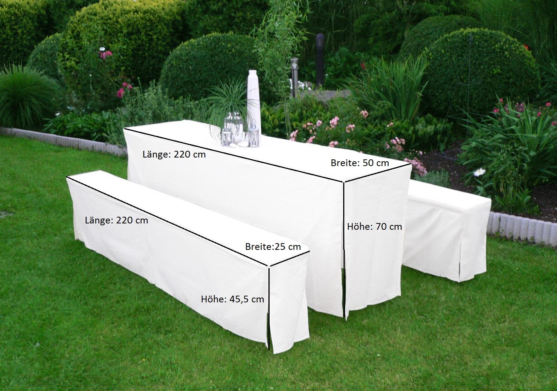 Hussen-Set für Festzeltgarnitur mit 50cm-Tisch, gepolstert, weiss