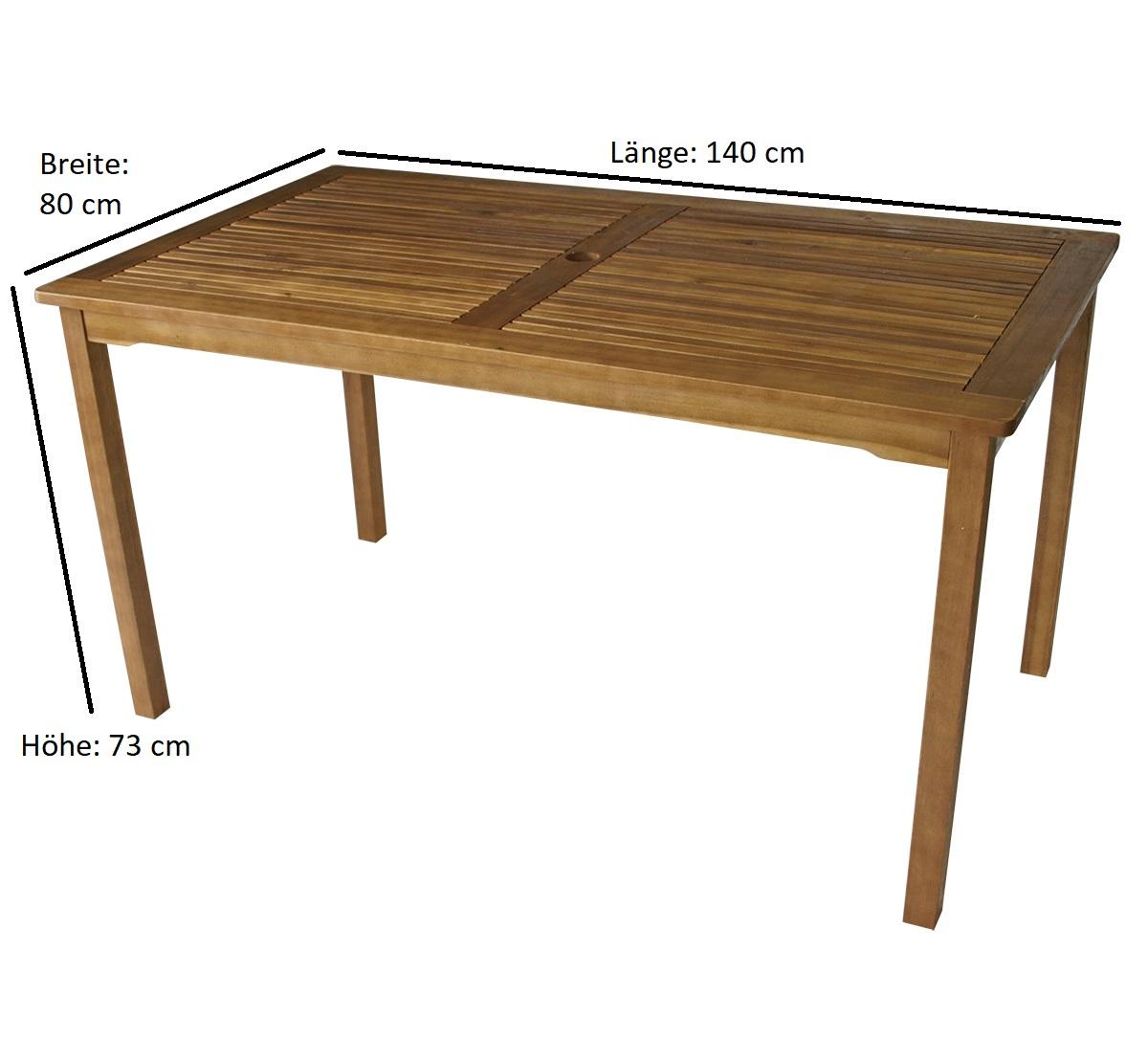 Tisch ST. VINCENT 140x80cm, Akazie geölt, FSC®-zertifiziert
