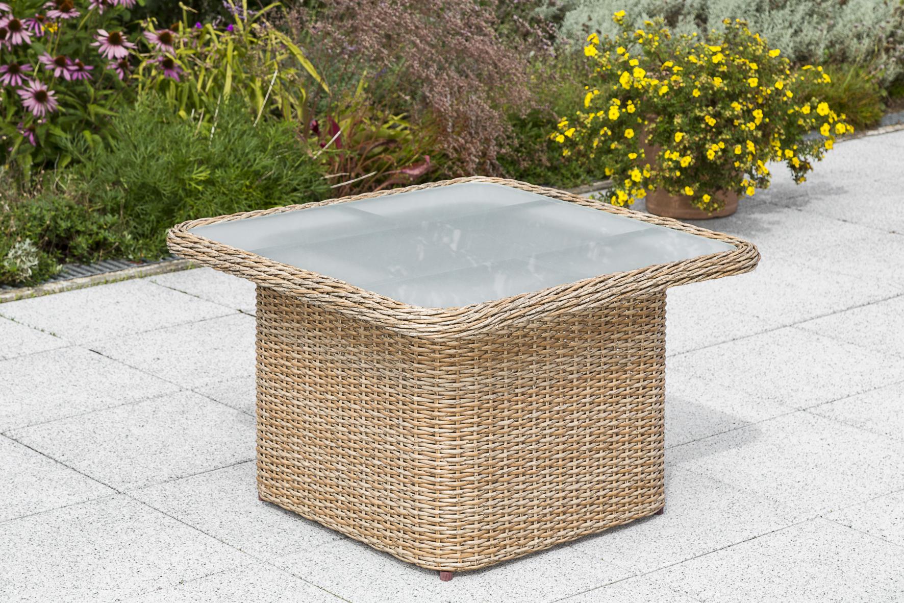 Loungetisch VENETO 72x72cm Stahl + Polyrattan natur, höhenverstellbar,