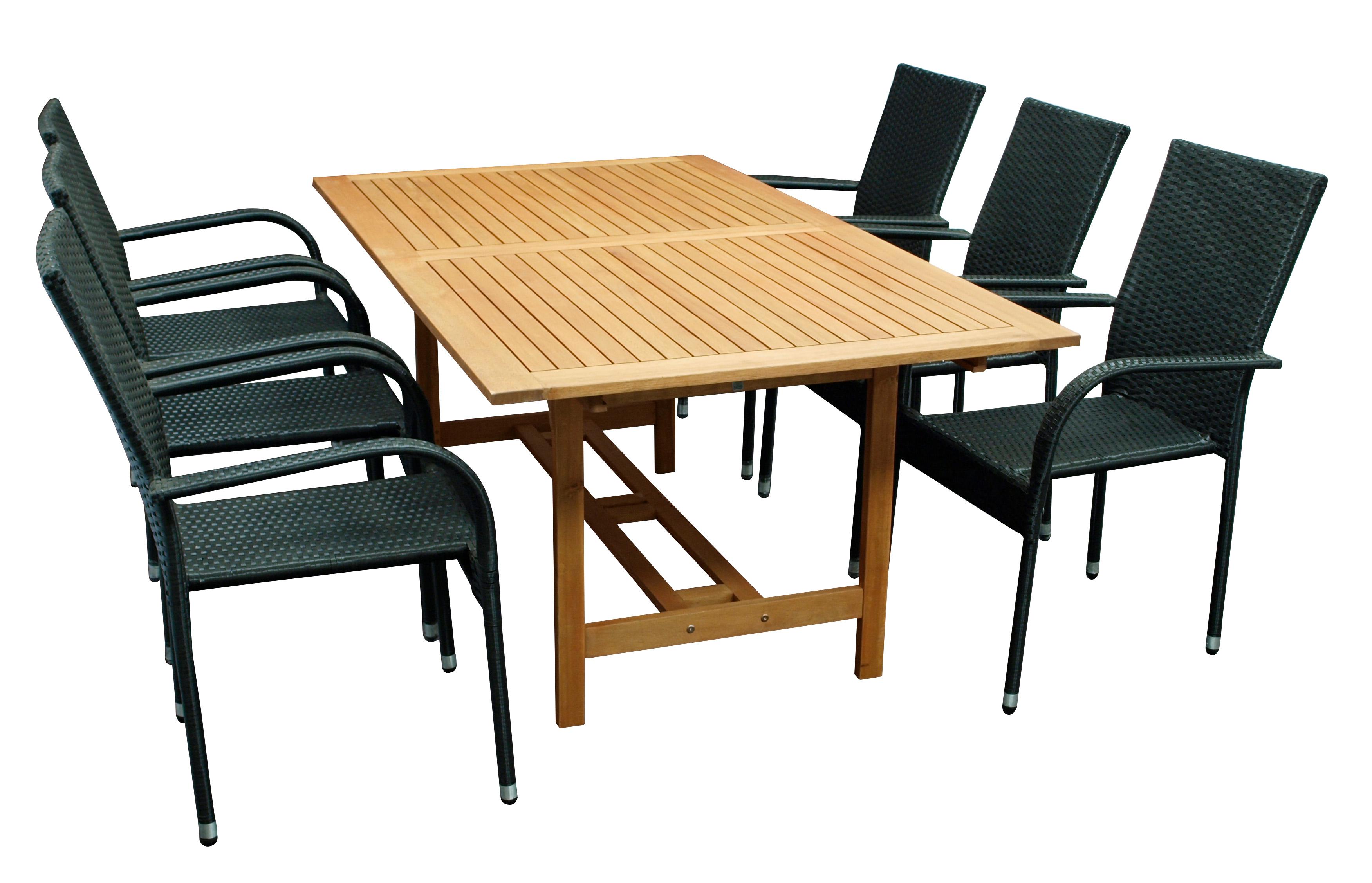 Garnitur VIENNA II 7-teilig, Eukalyptus, Stahl + Polyrattan schwarz