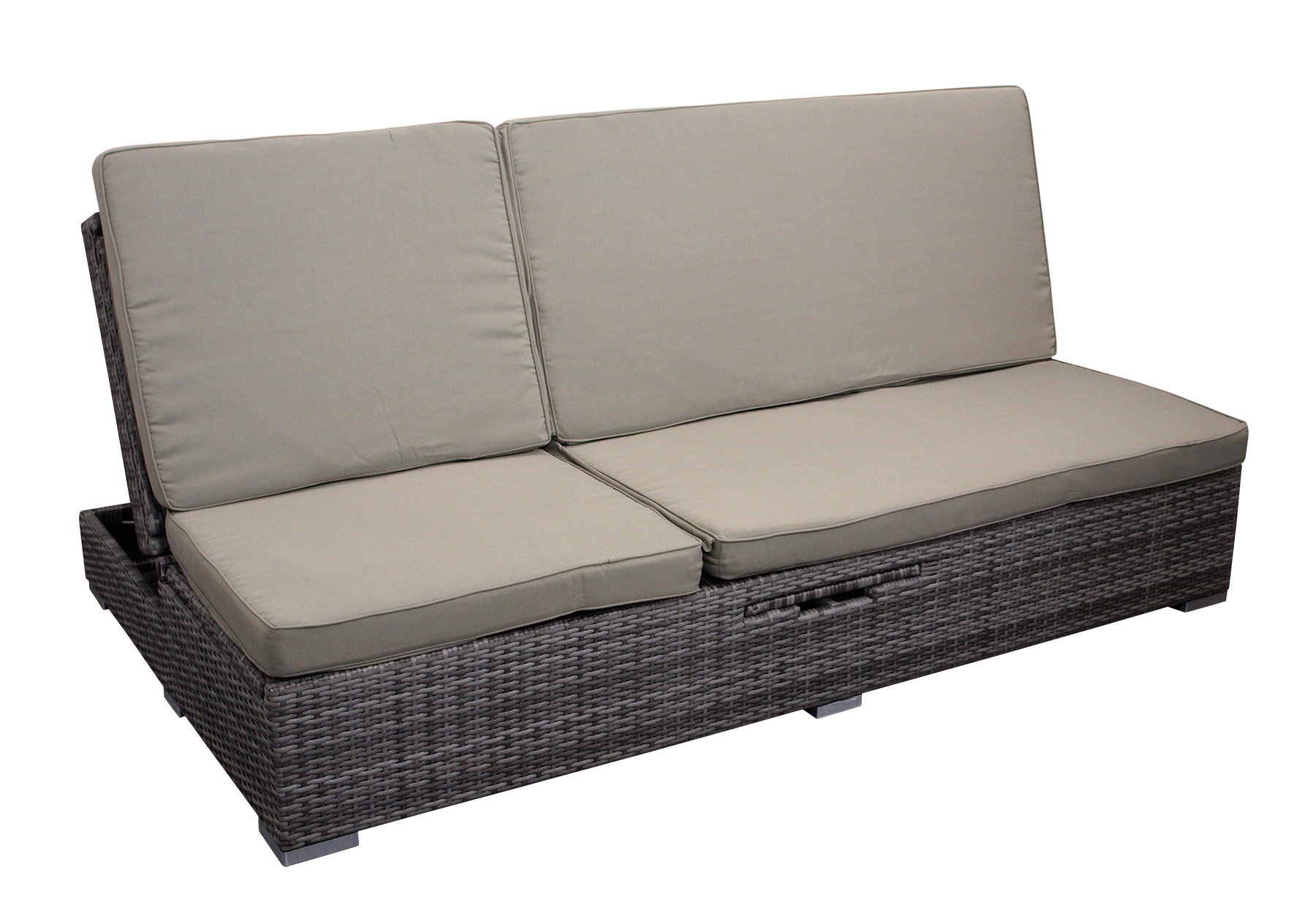 Funktions Doppelliege CALERO, Alu + Polyrattan grau-bicolor, mit Polstern taupe