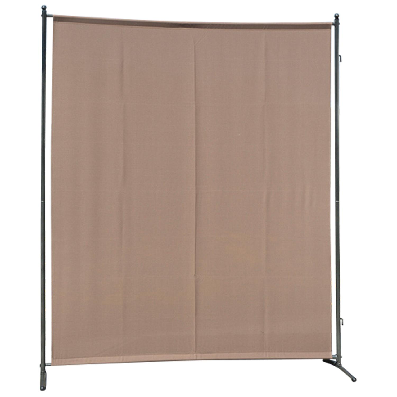 Sichtschutz - Trennwand 150x190cm, Metall + Textilbezug taupefarbe, verlängerbar