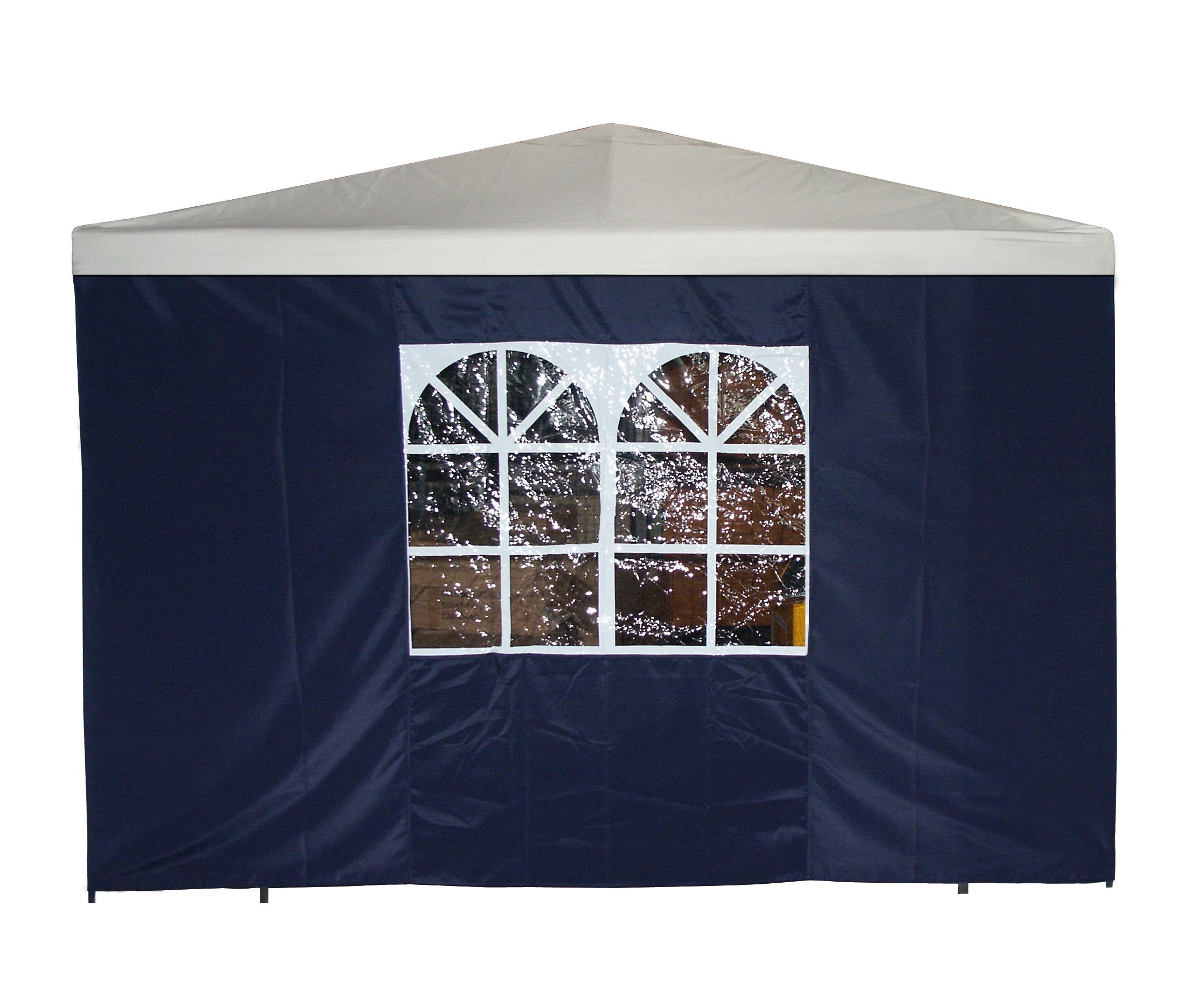 Seitenplane für Pavillon, 3x1,9 Meter, Polyester blau mit Fenster