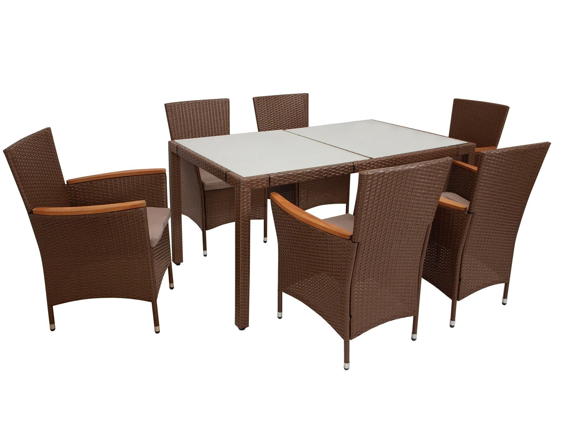 Garnitur MONTREUX 7-teilig, Geflecht braun + Glastisch 90x150cm