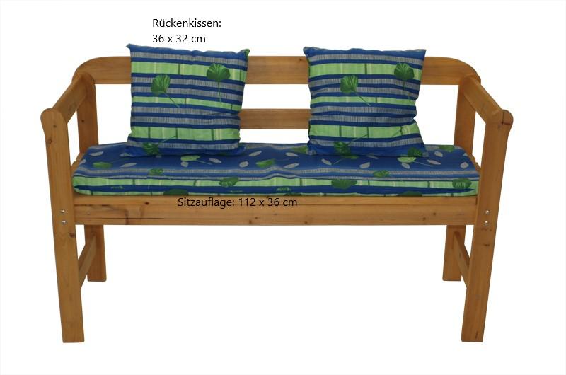 Auflage SABINE für Bank 2-sitzer, blau gemustert, mit Kissen