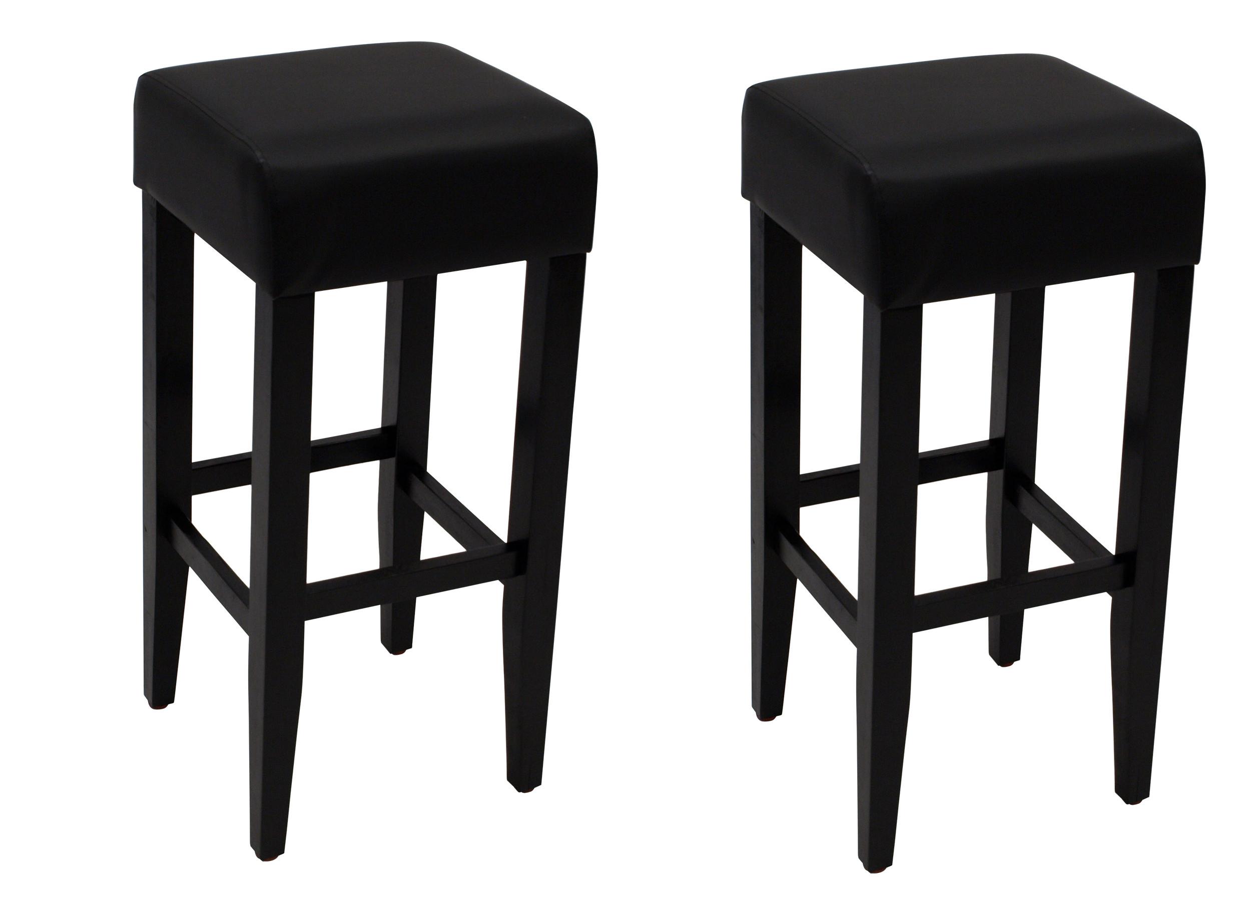 Barhocker BODEGA, Gestell Akazienholz schwarz, Sitz Kunstleder schwarz, 2 Stück, FSC®-zertifiziert