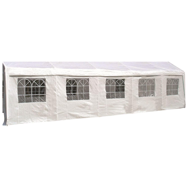 Seitenplane für Partyzelt, Länge 10 Meter, PVC weiß mit Fenstern