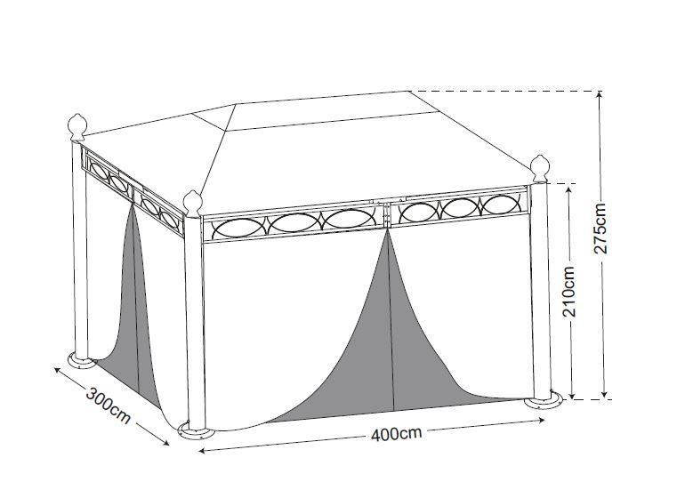 Pavillon RIVOLI 3x4 Meter, Stahl schwarz, Plane PVC-beschichtet écru