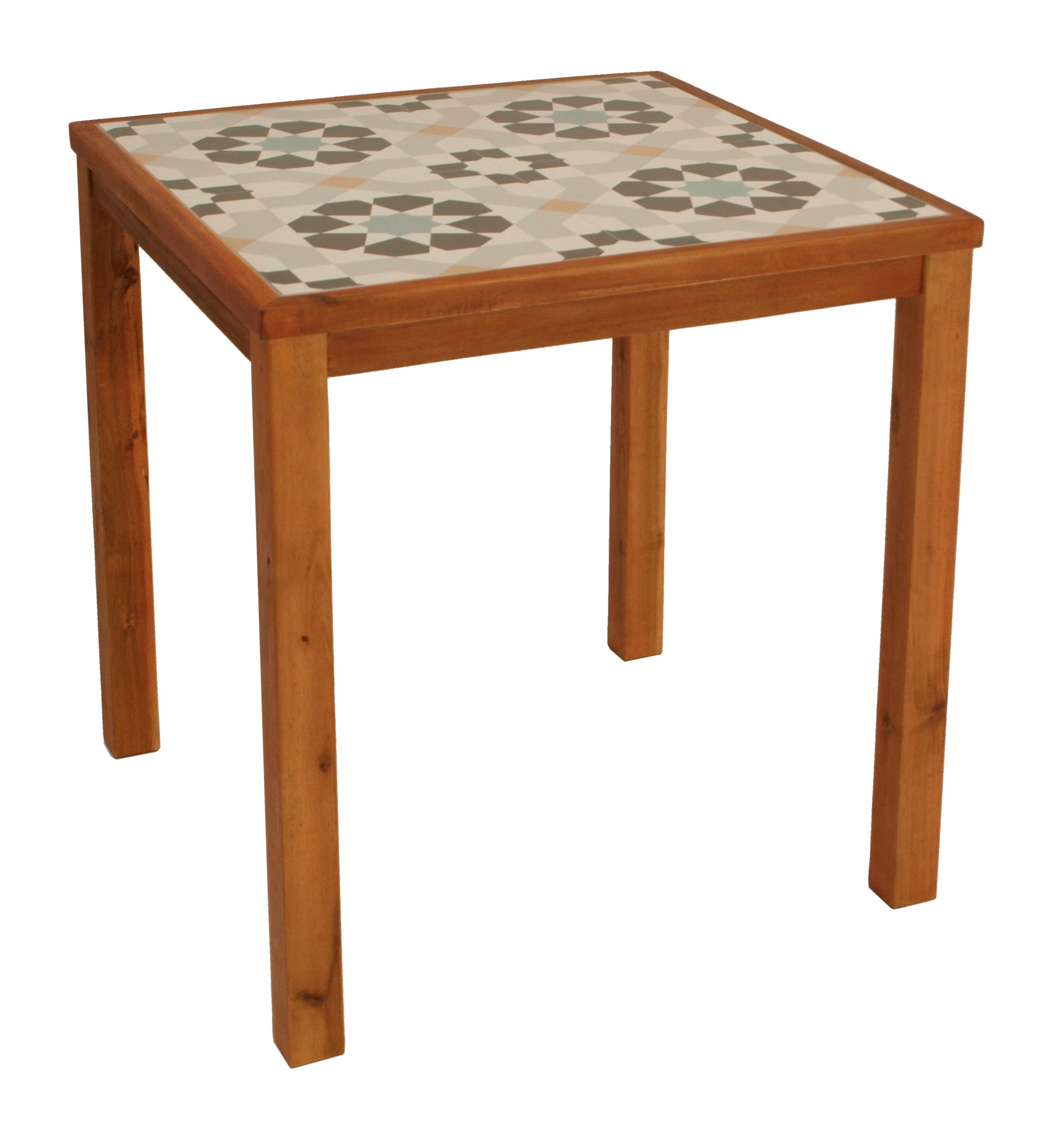 Tisch SANTA CLARA 65x65cm, Tischplatte Keramik, Gestell Eukalyptus, FSC®-zertif.
