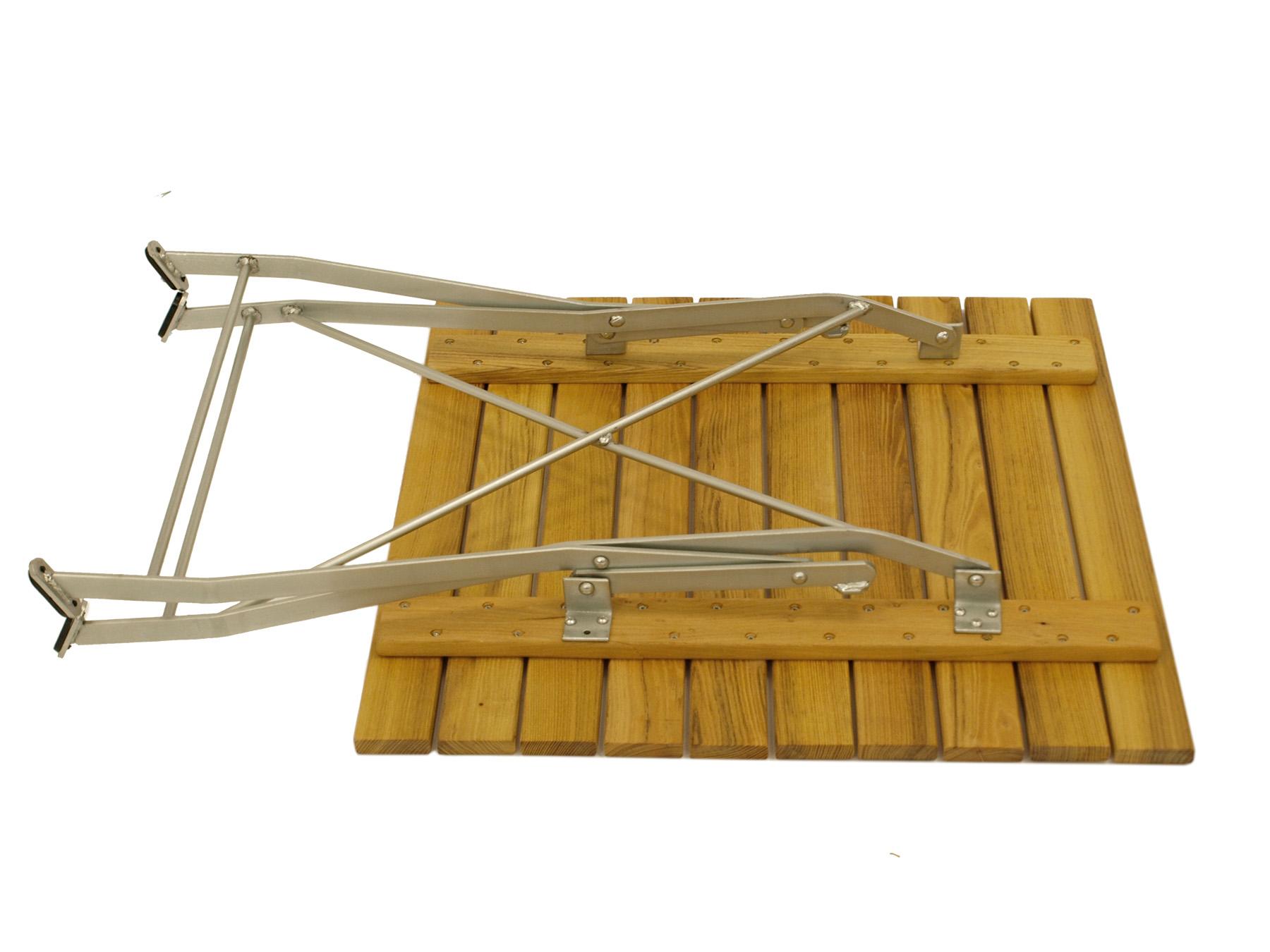 Klapptisch BAD TÖLZ 70x70cm, Flachstahl verzinkt + Robinie