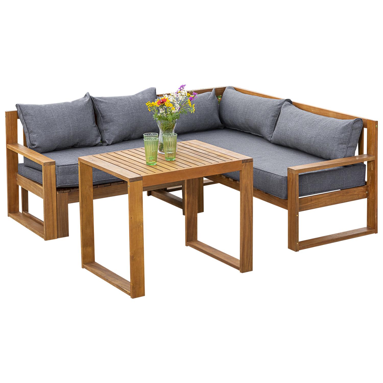 Funktions Lounge Set  MERIDA, Akazie geölt, mit Polster grau, FSC®-zertifiziert