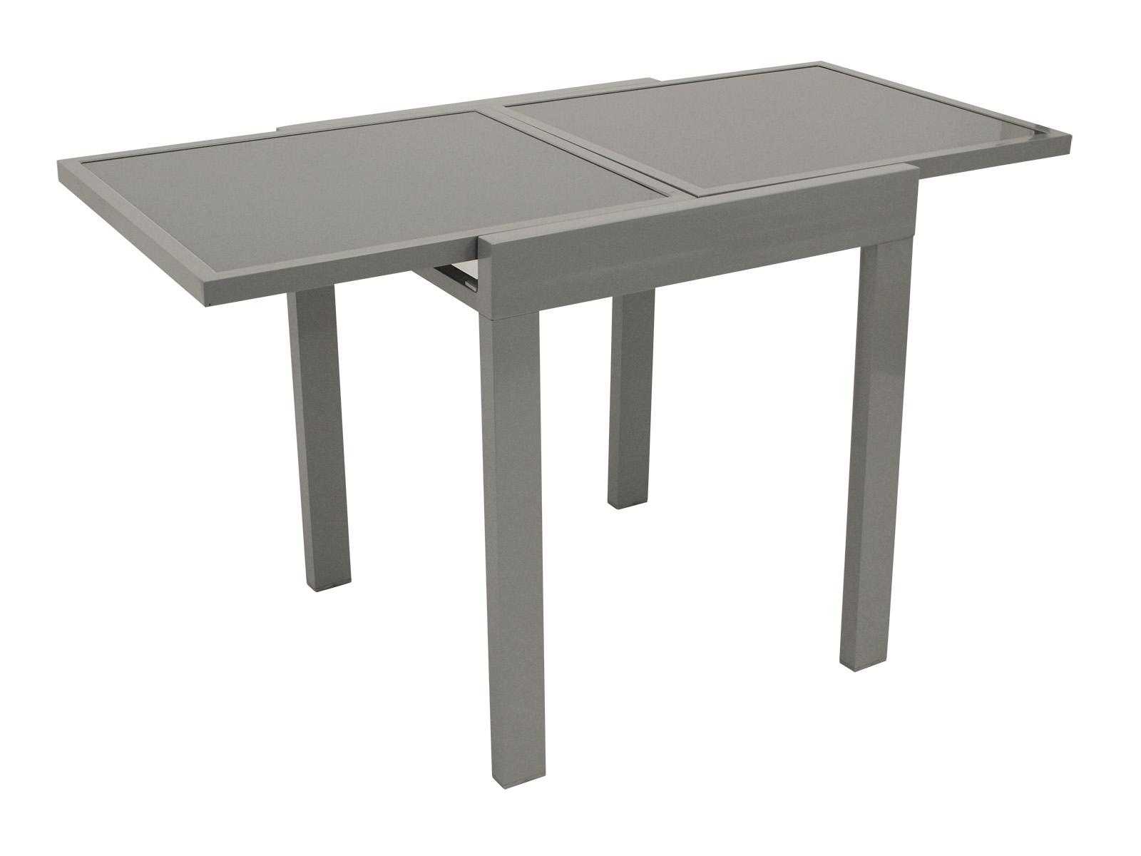 Balkon-Ausziehtisch AMALFI 65/130x65cm, Aluminium + Glas grau