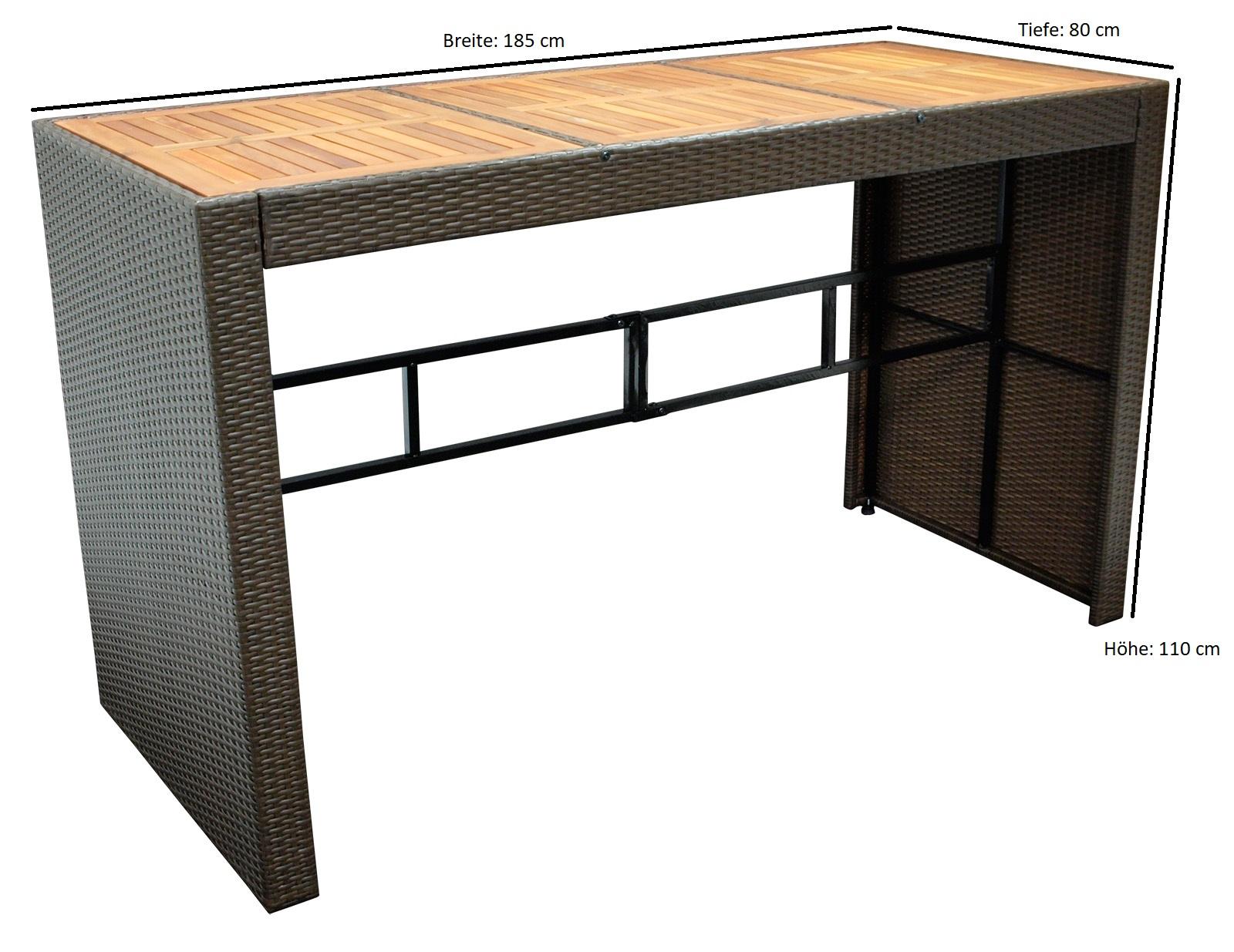 Bartisch CORTINA 185x80x110cm, Geflecht braun + Akazienholz