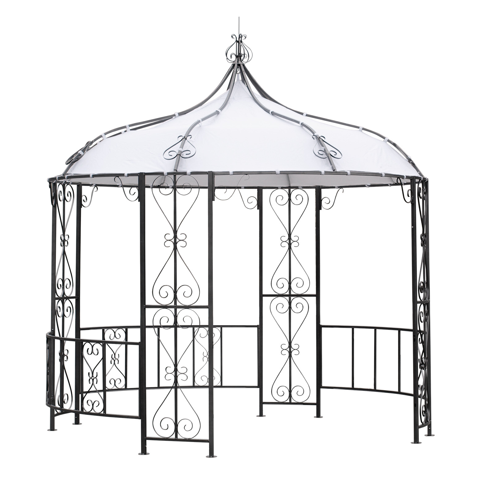 Pavillon BURMA 300cm rund,  Stahl grau, Plane PVC-beschichtet weiss