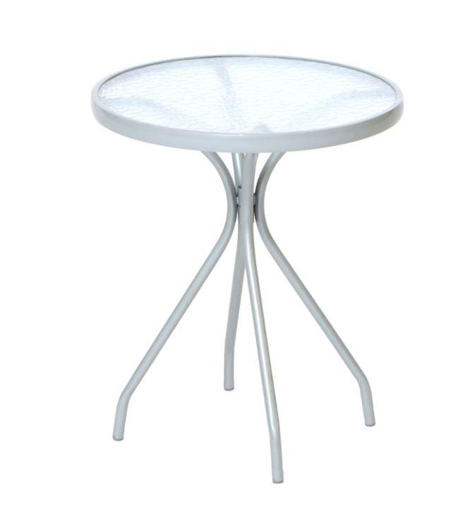 Tisch ALASSIO 60cm rund, Stahlgestell + Glasplatte