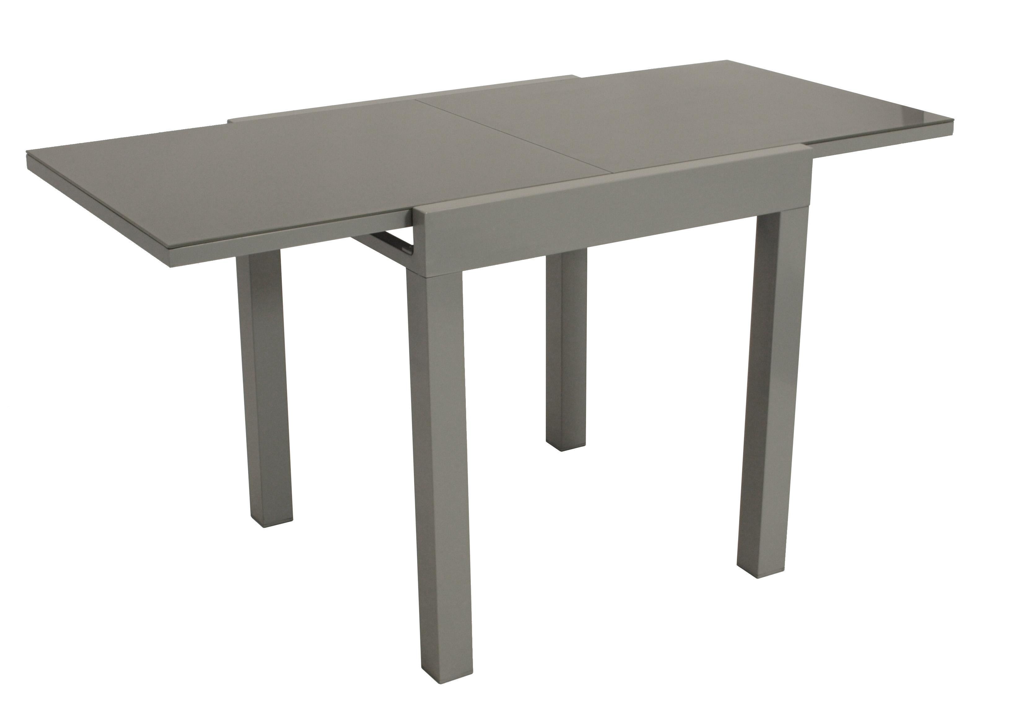 Balkon-Ausziehtisch MARINA 70/140x70cm, Aluminium silbergrau + Glas grau