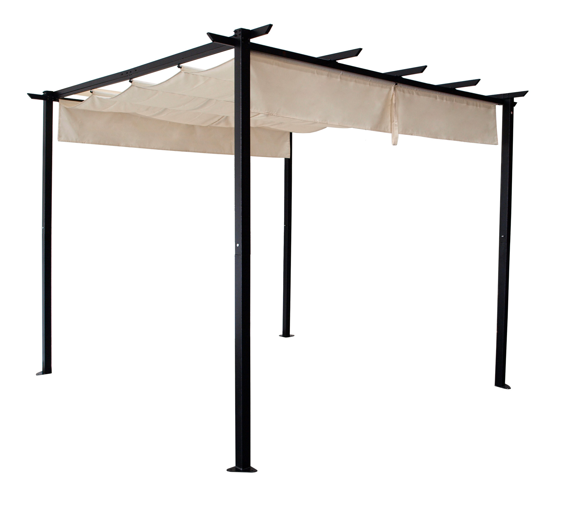 Pavillon ANTIBES 3x3 Meter, Stahl schwarz, Schiebeplane écru