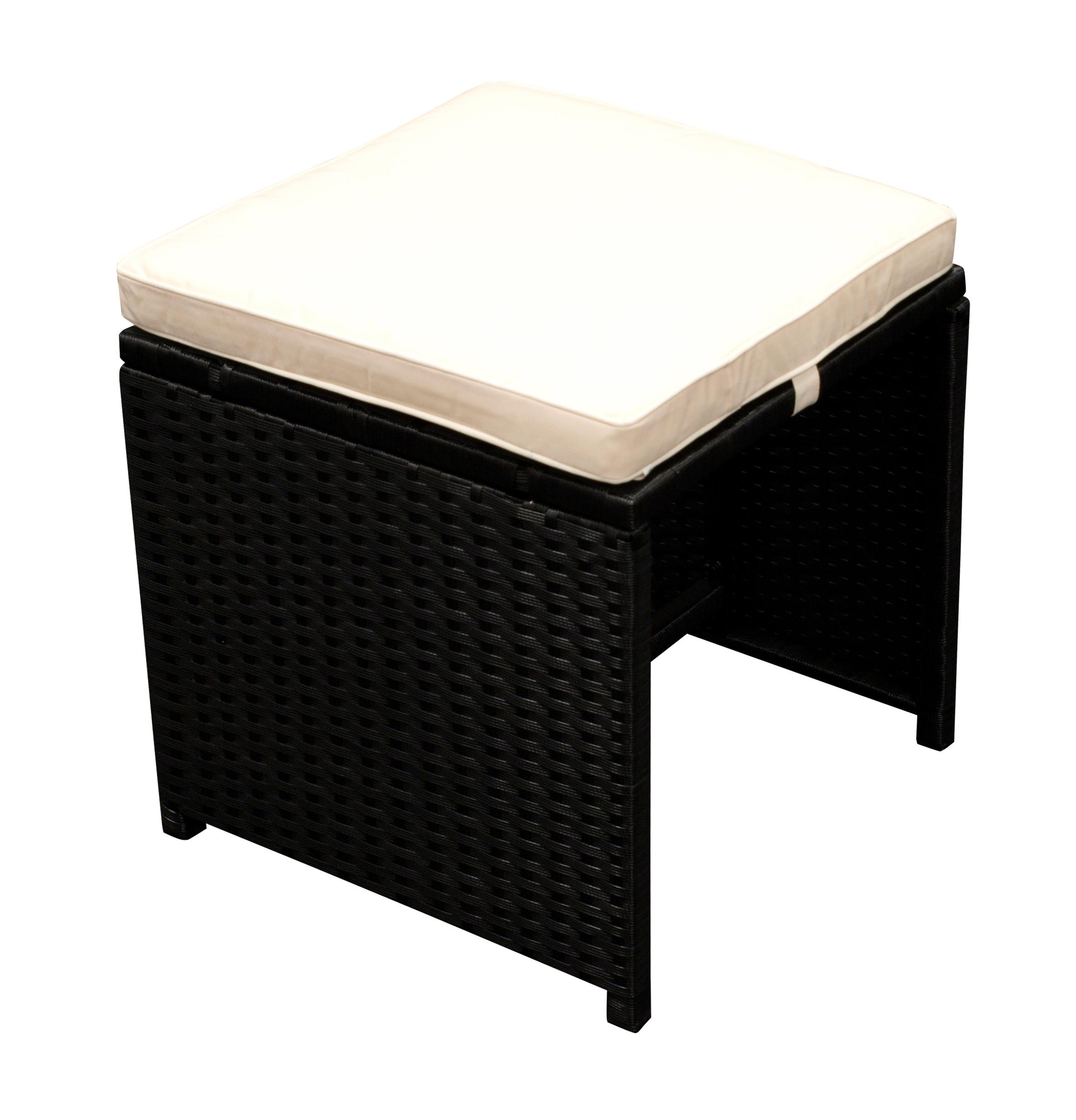 Garnitur ROMA 9-teilig, Geflecht schwarz + Tisch mit Glasplatte