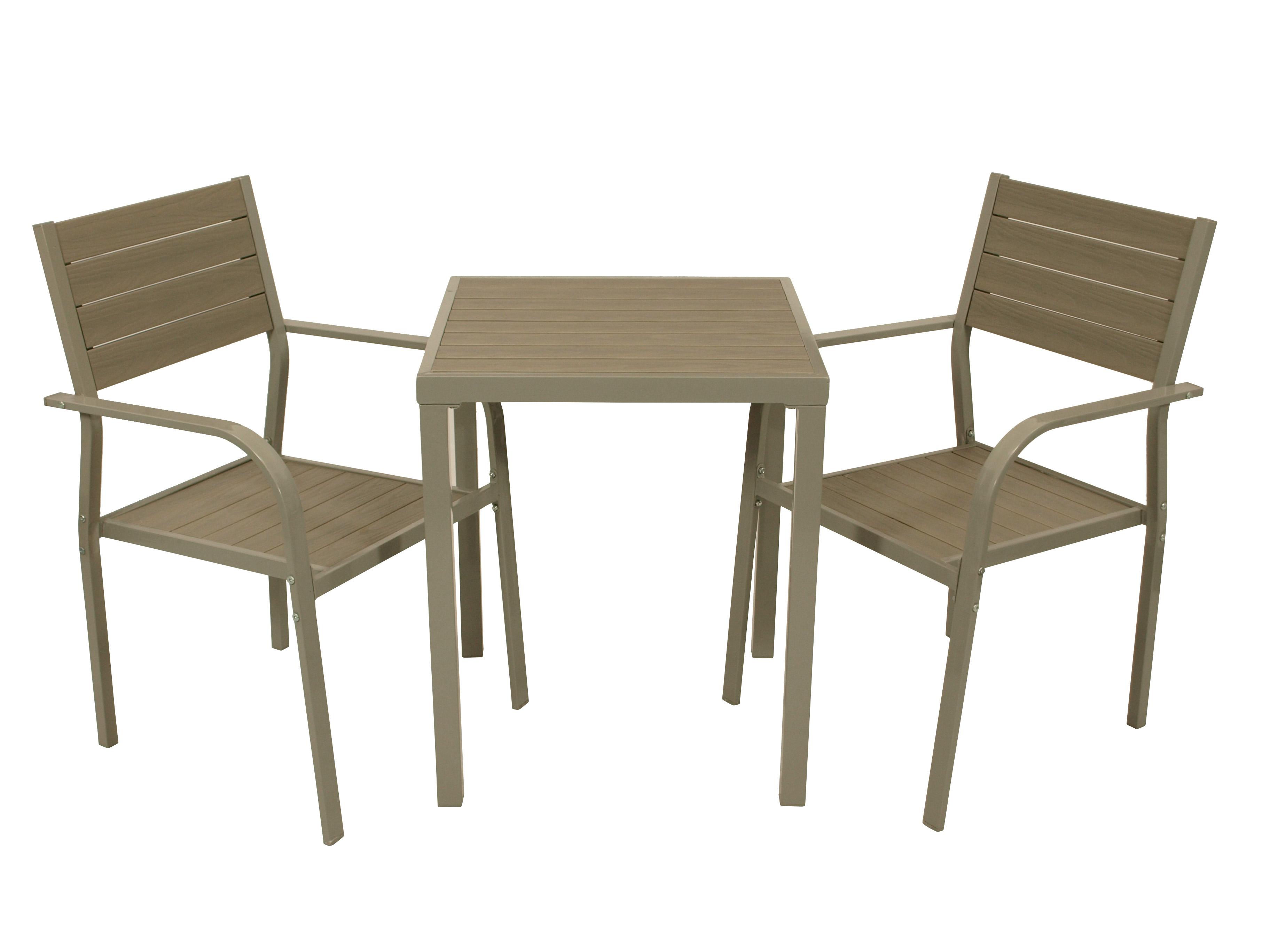 Bistroset VARENNA 3-teilig, Metall + Polywood, grau