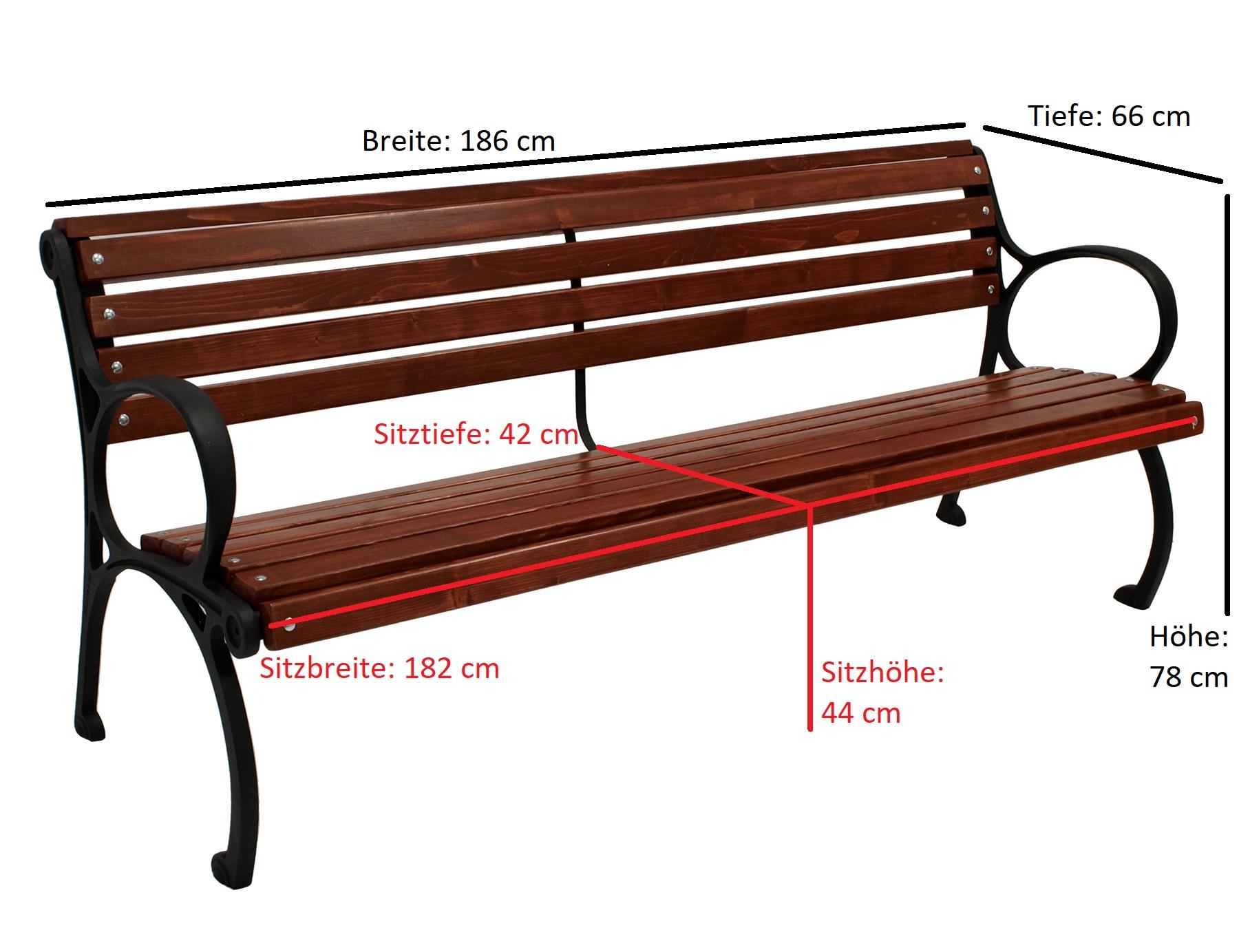 Bank COLMAR 4-sitzer 186cm, Gusseisen schwarz, Kiefernholz mahagonifarben
