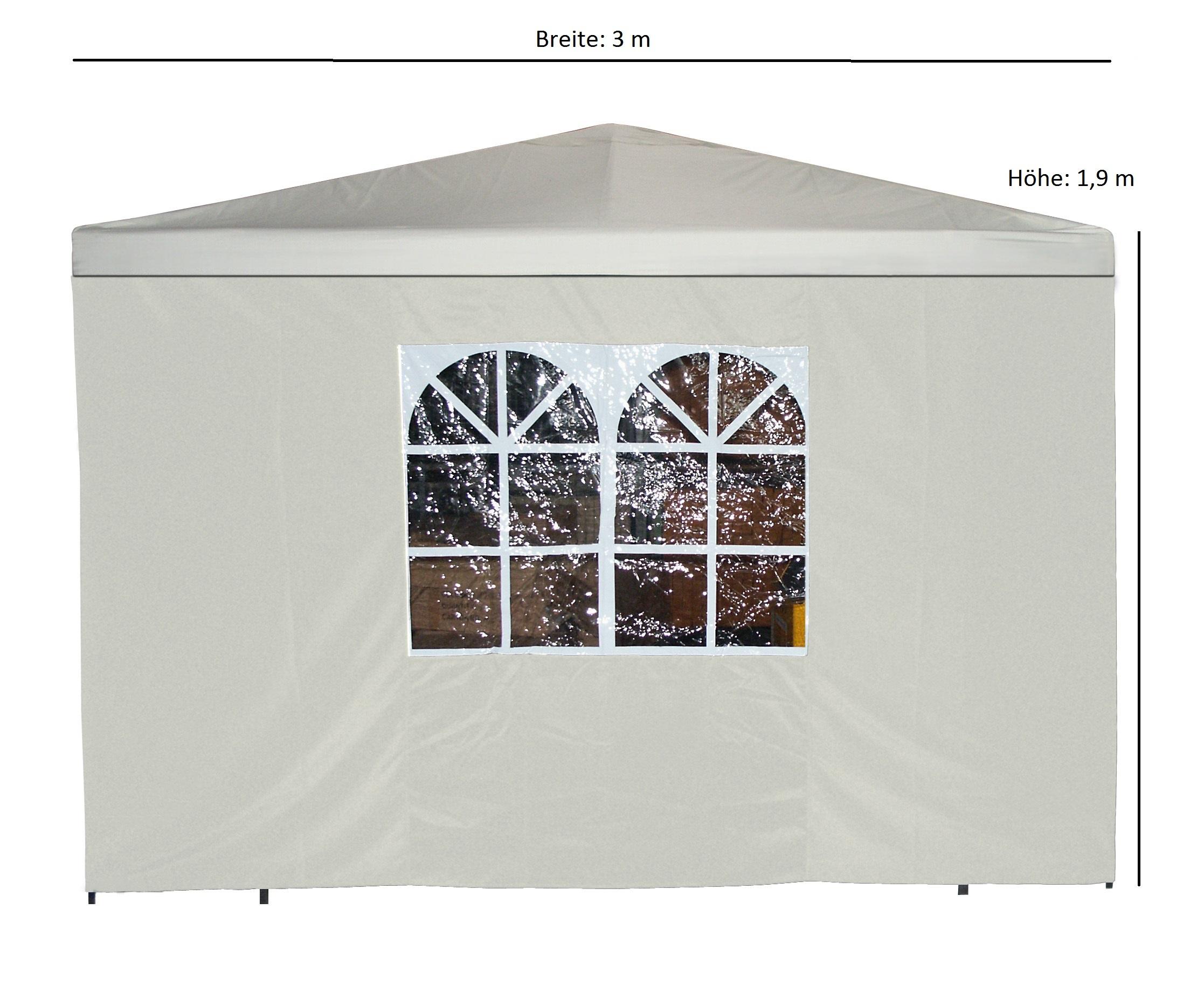 Seitenplane für Pavillon, 3x1,9 Meter, Polyester ecru mit Fenster