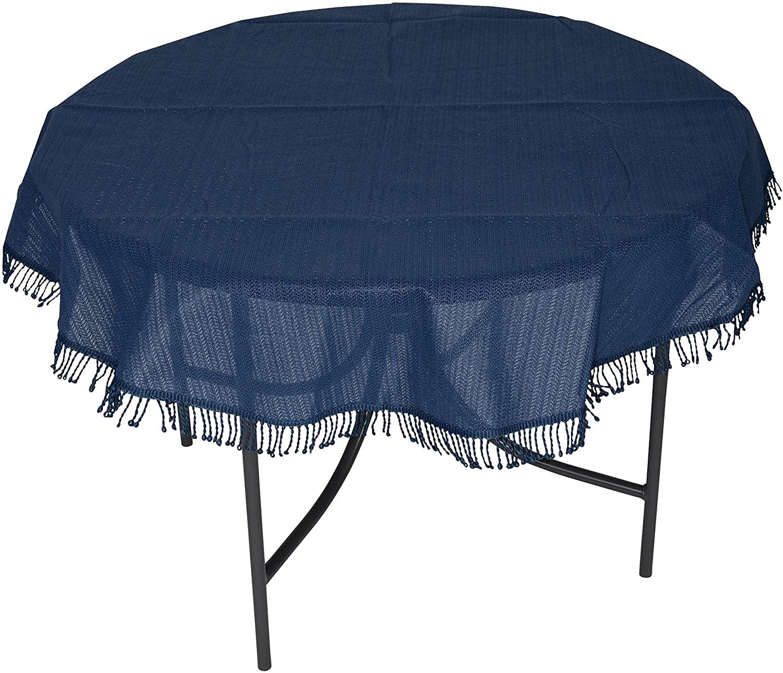 Tischdecke aus Kunststoff 160cm rund, blau, wetterfest