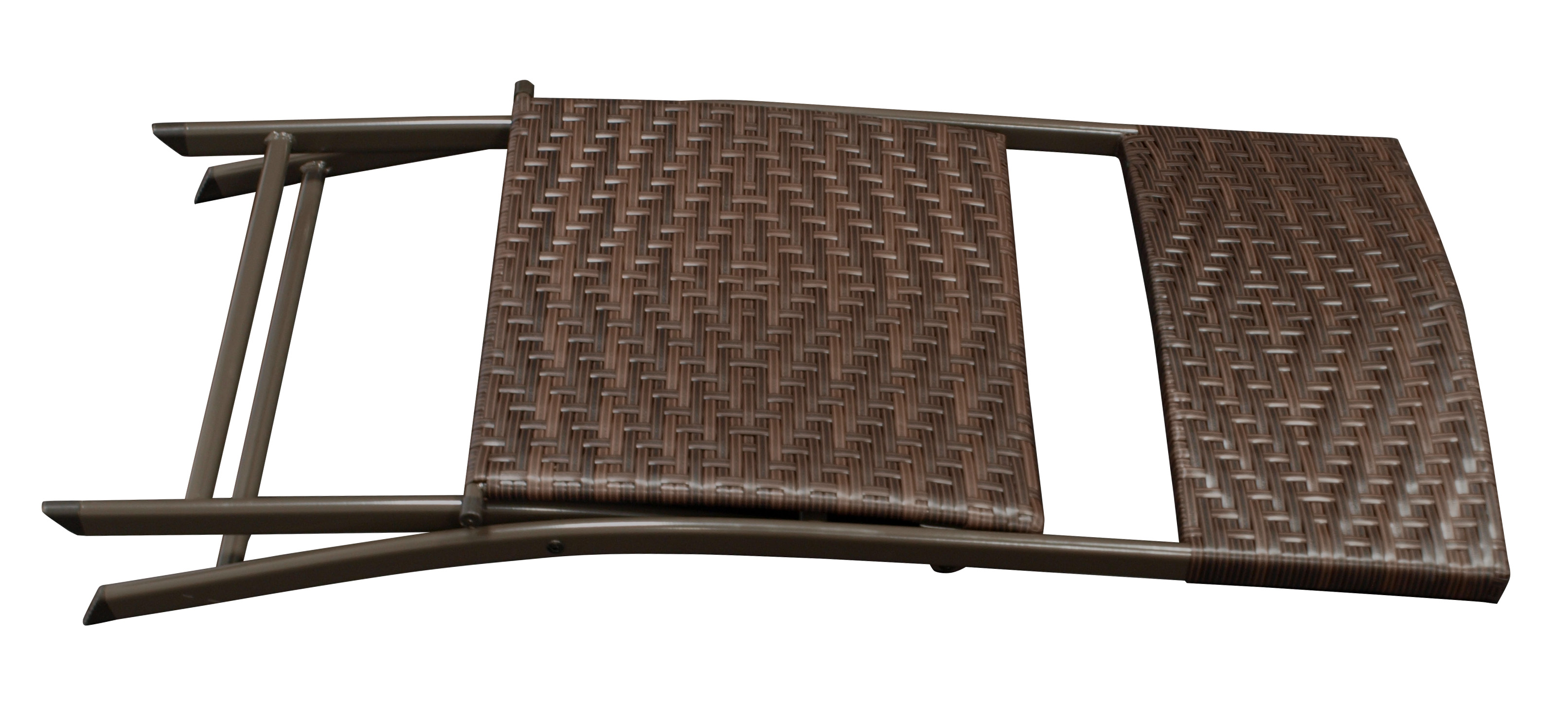 Bistroset ROSSANO 3-teilig klappbar, Metall + Polyrattan braun bicolor