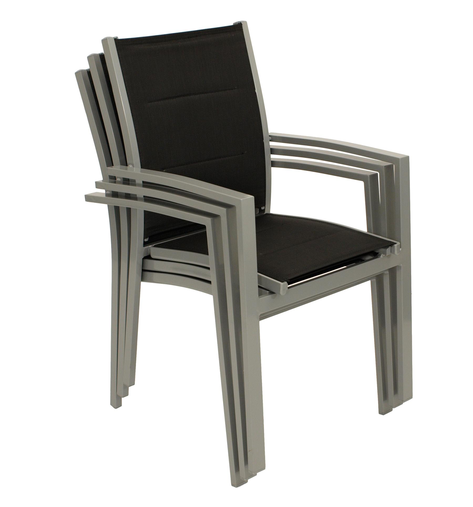 Stapelsessel RIVERA,  Aluminium + Kunstgewebe gepolstert schwarz, 4 Stück