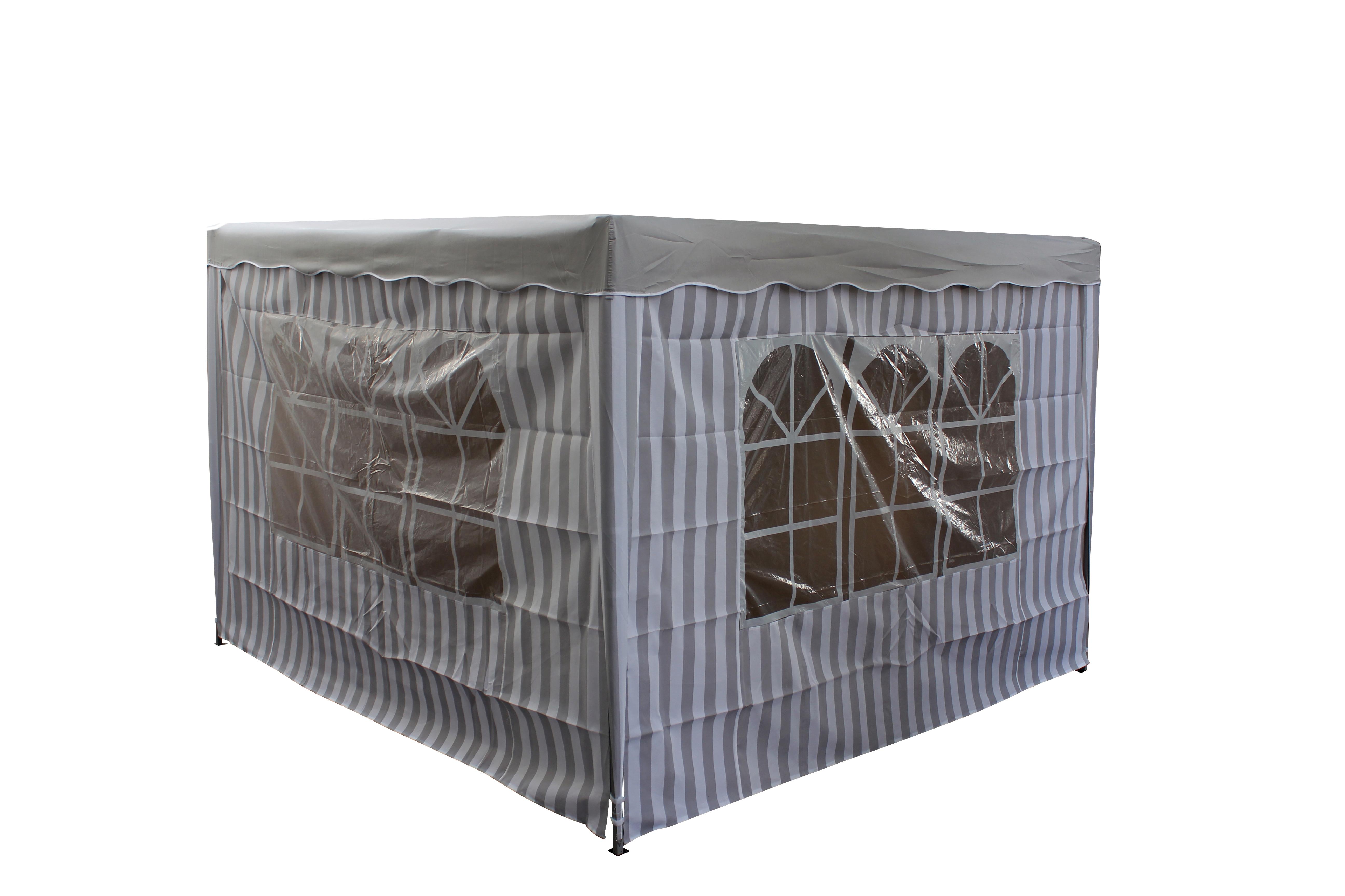 Seitenplanen Set 2-teilig  für Pavillon, 3x2 Meter, grau/weiss, mit Fenstern